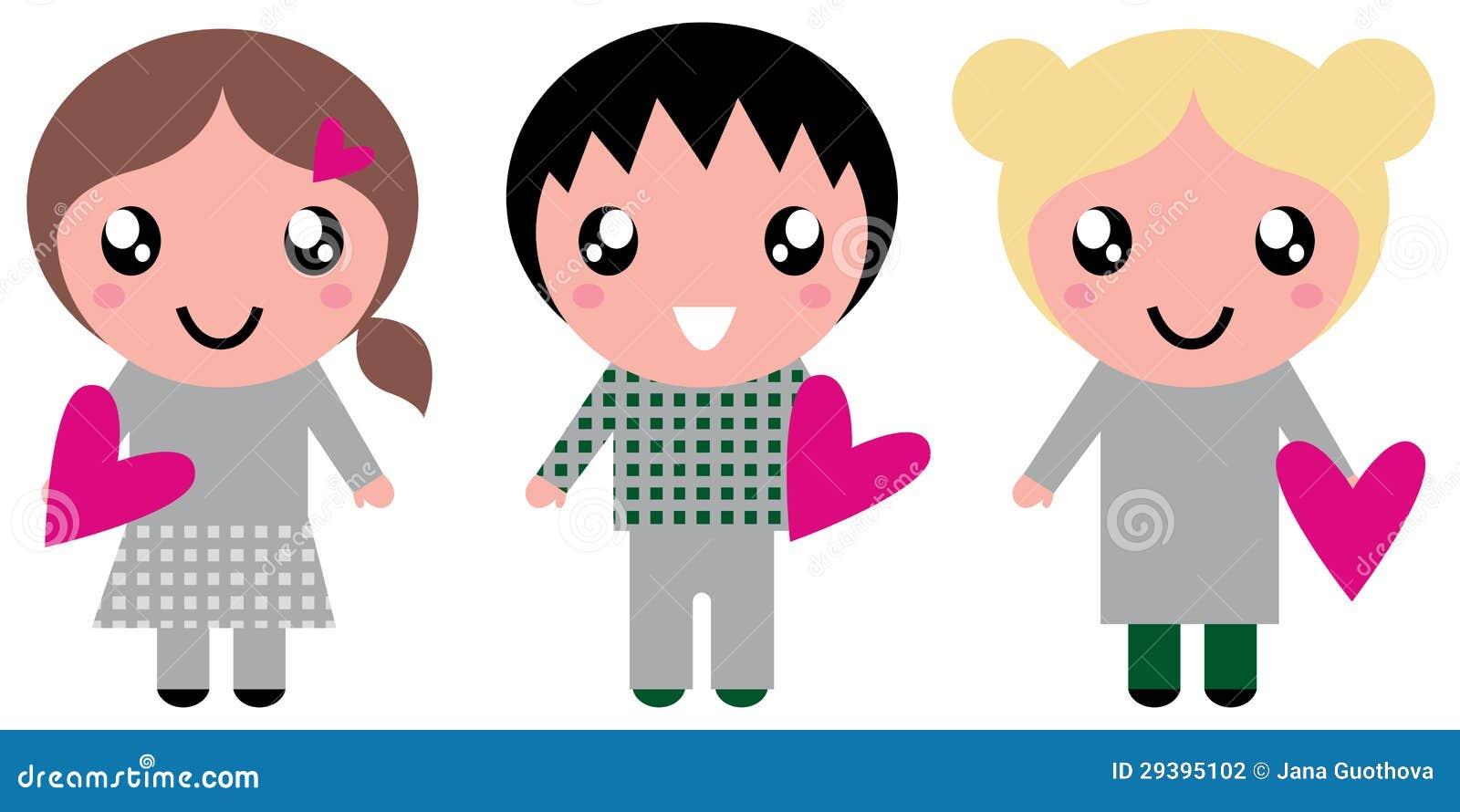 Nette Kinder mit rosa Inneren