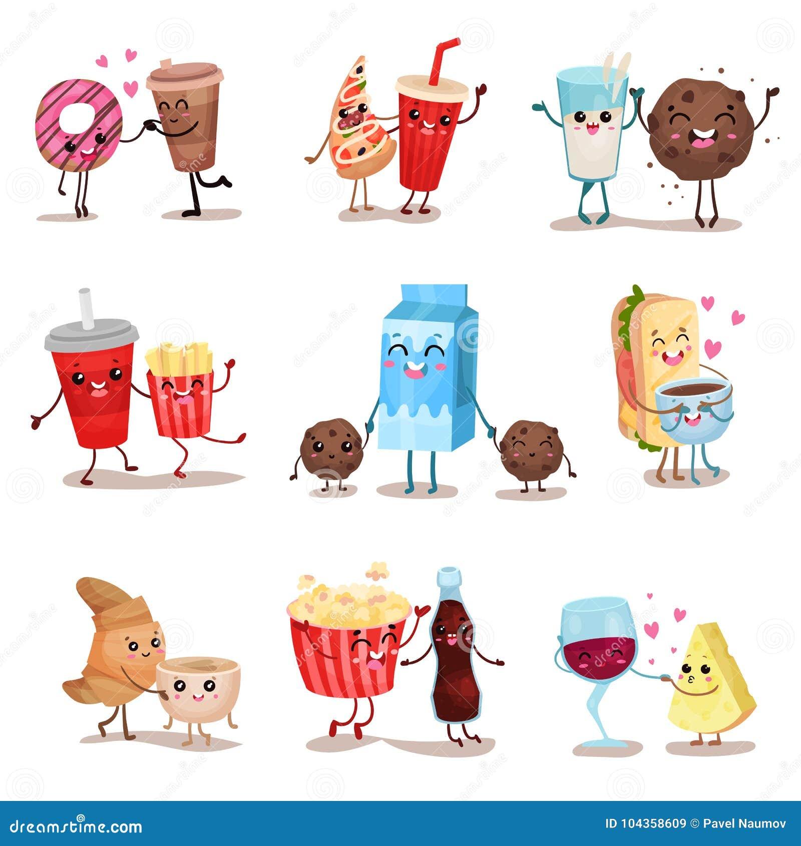 Nette lustige Lebensmittel- und Getränkcharaktere stellten, beste Freunde, lustige Schnellimbissmenüvektor Illustrationen ein