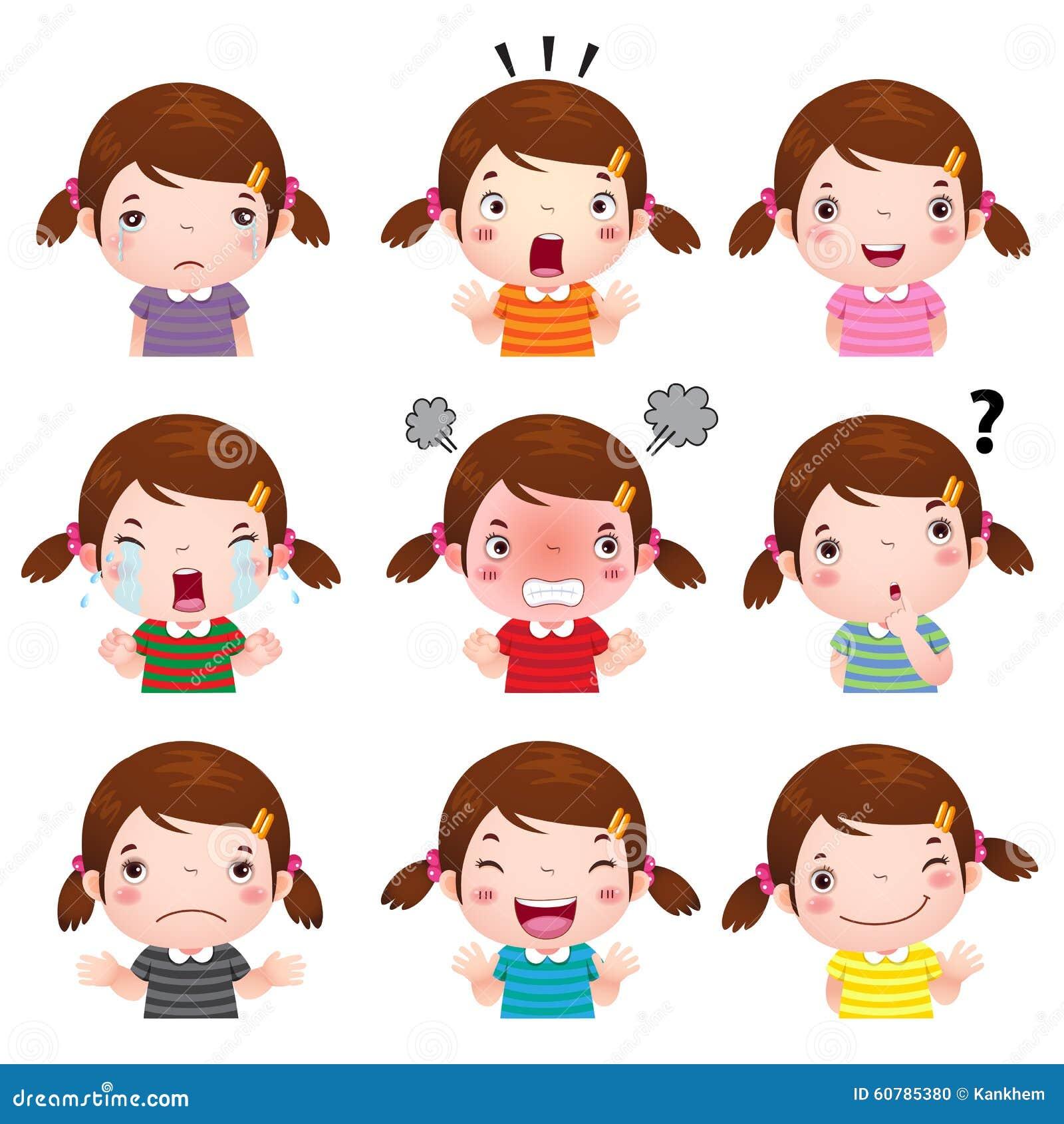 Nette Mädchengesichter, die verschiedene Gefühle zeigen