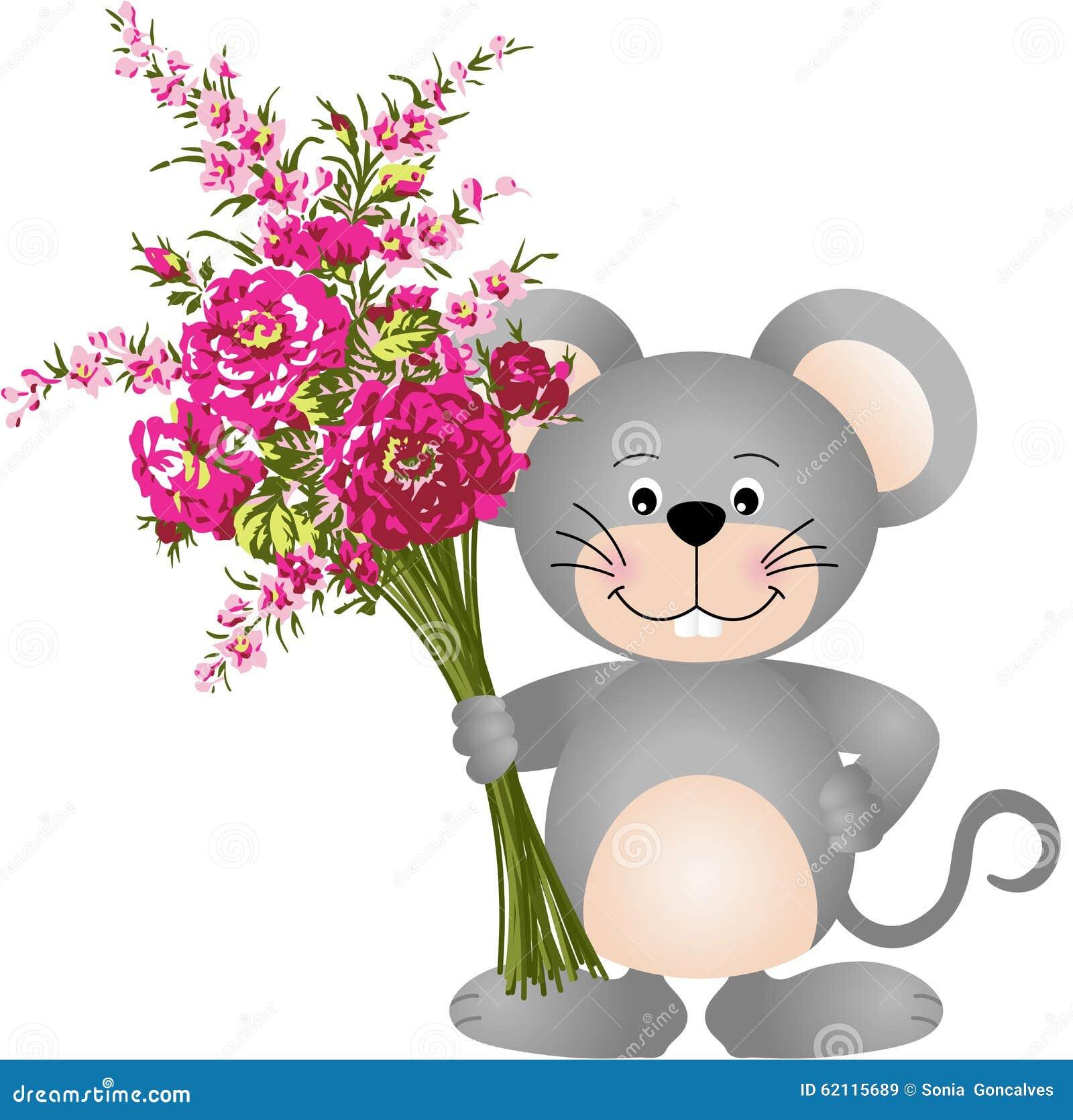 Nette Maus mit Blumen vektor abbildung. Illustration von graphik ...