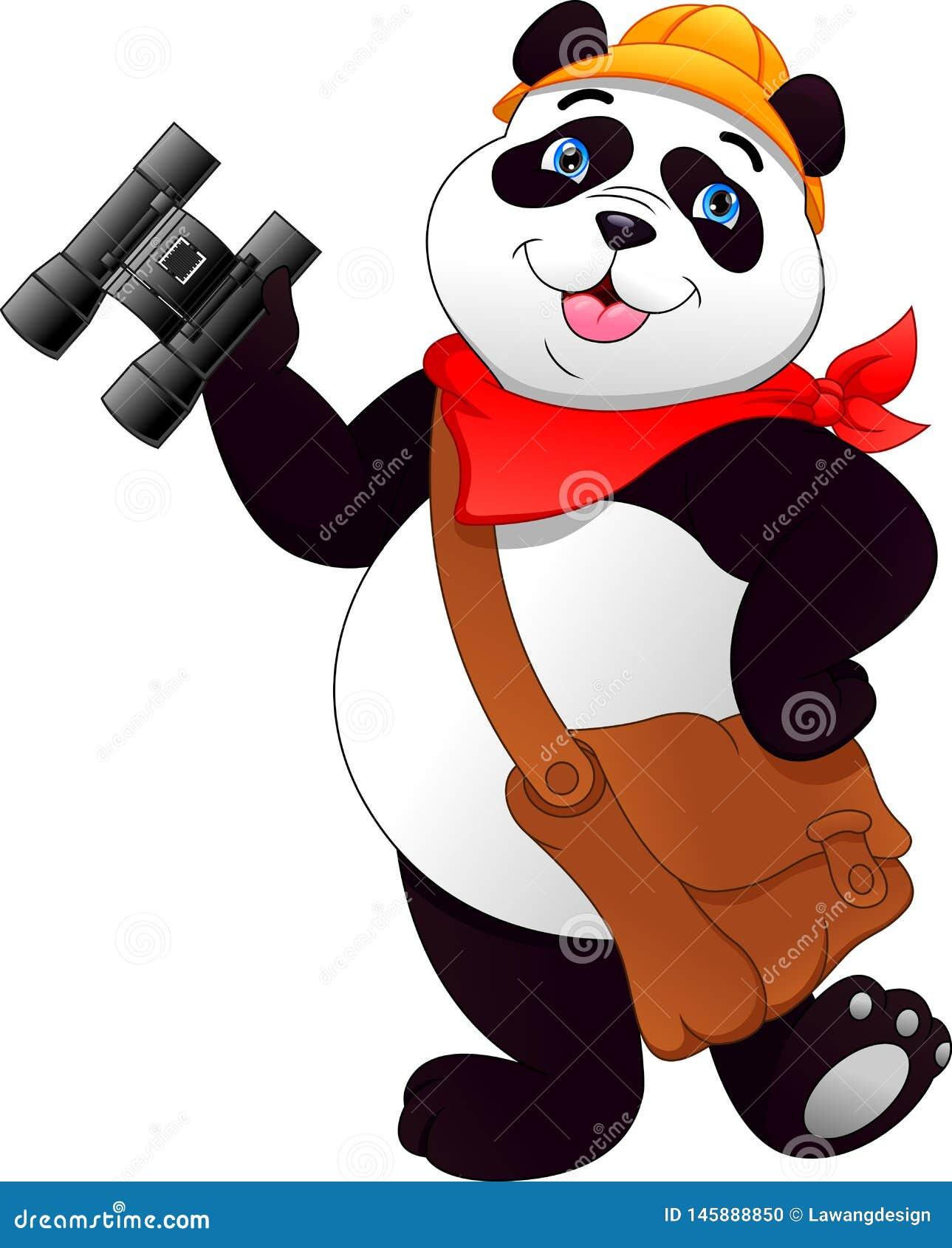 Nette Pandaholding binokular