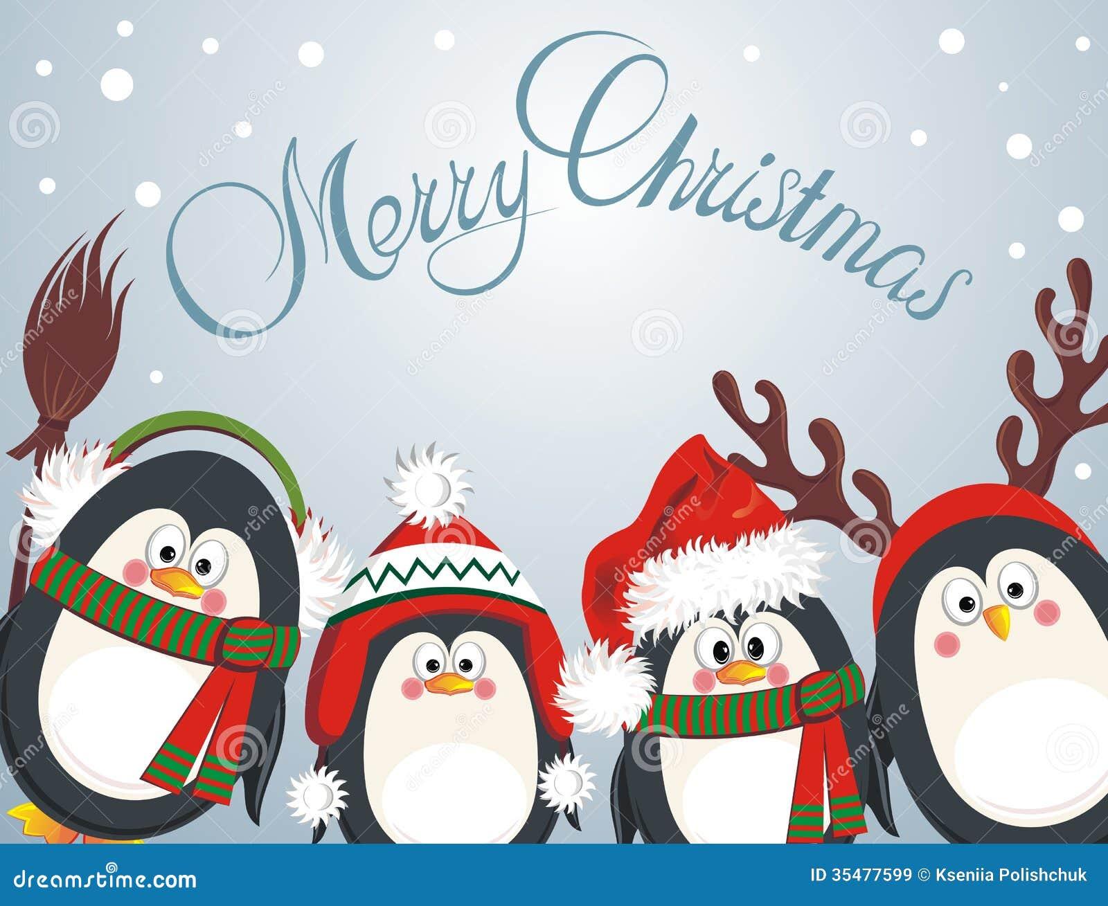 Nette Pinguine Der Frohen Weihnachten Vektor Abbildung ...