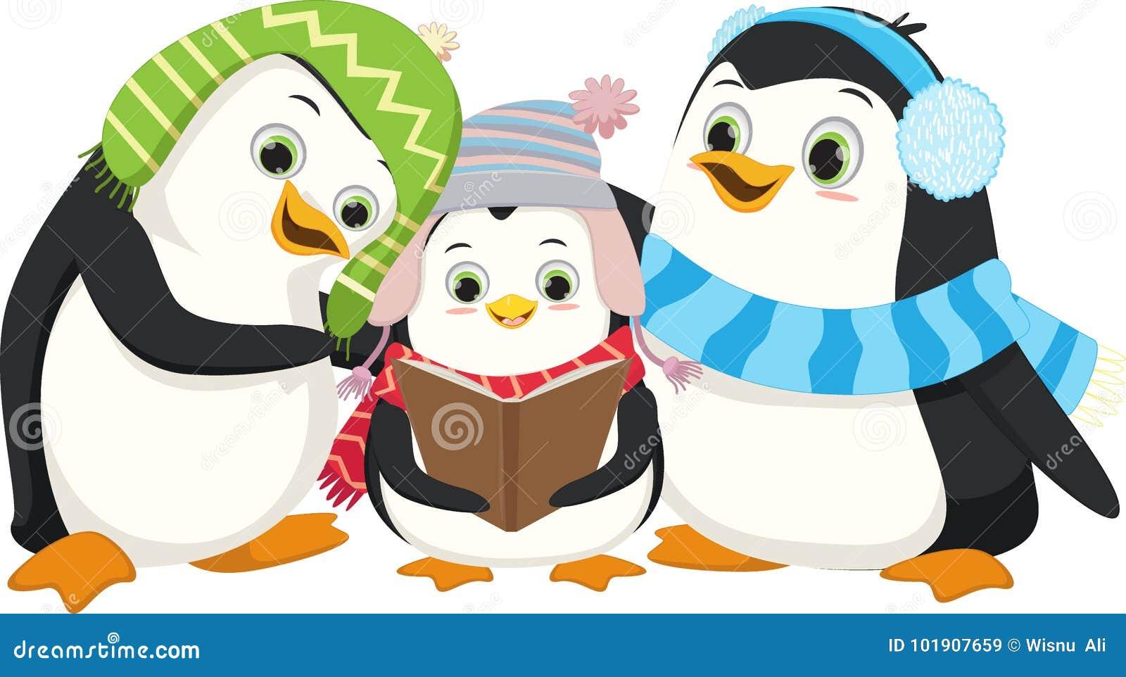 Nette Pinguine, Die Weihnachten Carol Singen Vektor Abbildung ...