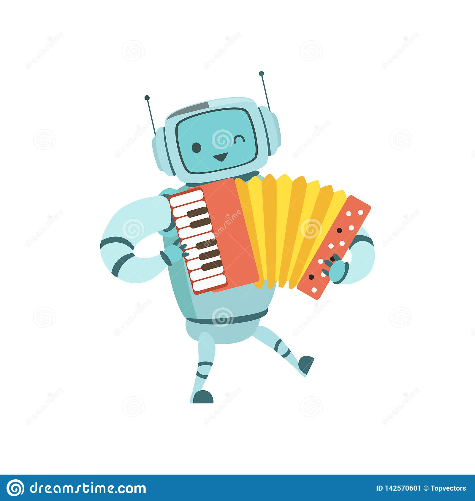 Nette Roboter-Musiker-Playing Accordion Musical-Instrument-Vektor-Illustration