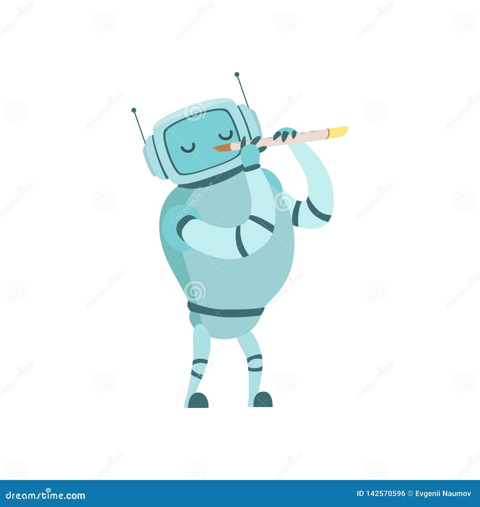 Nette Roboter-Musiker-Playing Flute Musical-Instrument-Vektor-Illustration