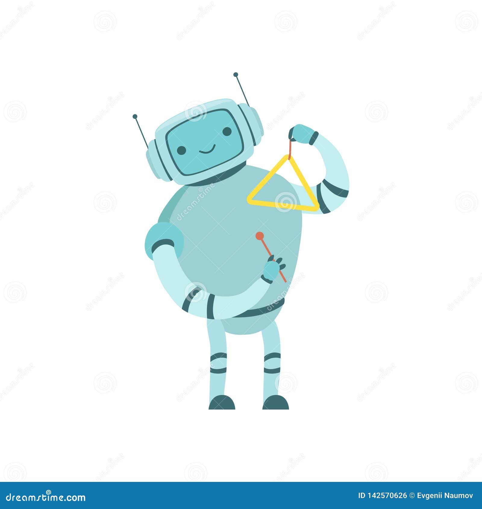 Nette Roboter-Musiker-Playing Triangle Musical-Instrument-Vektor-Illustration