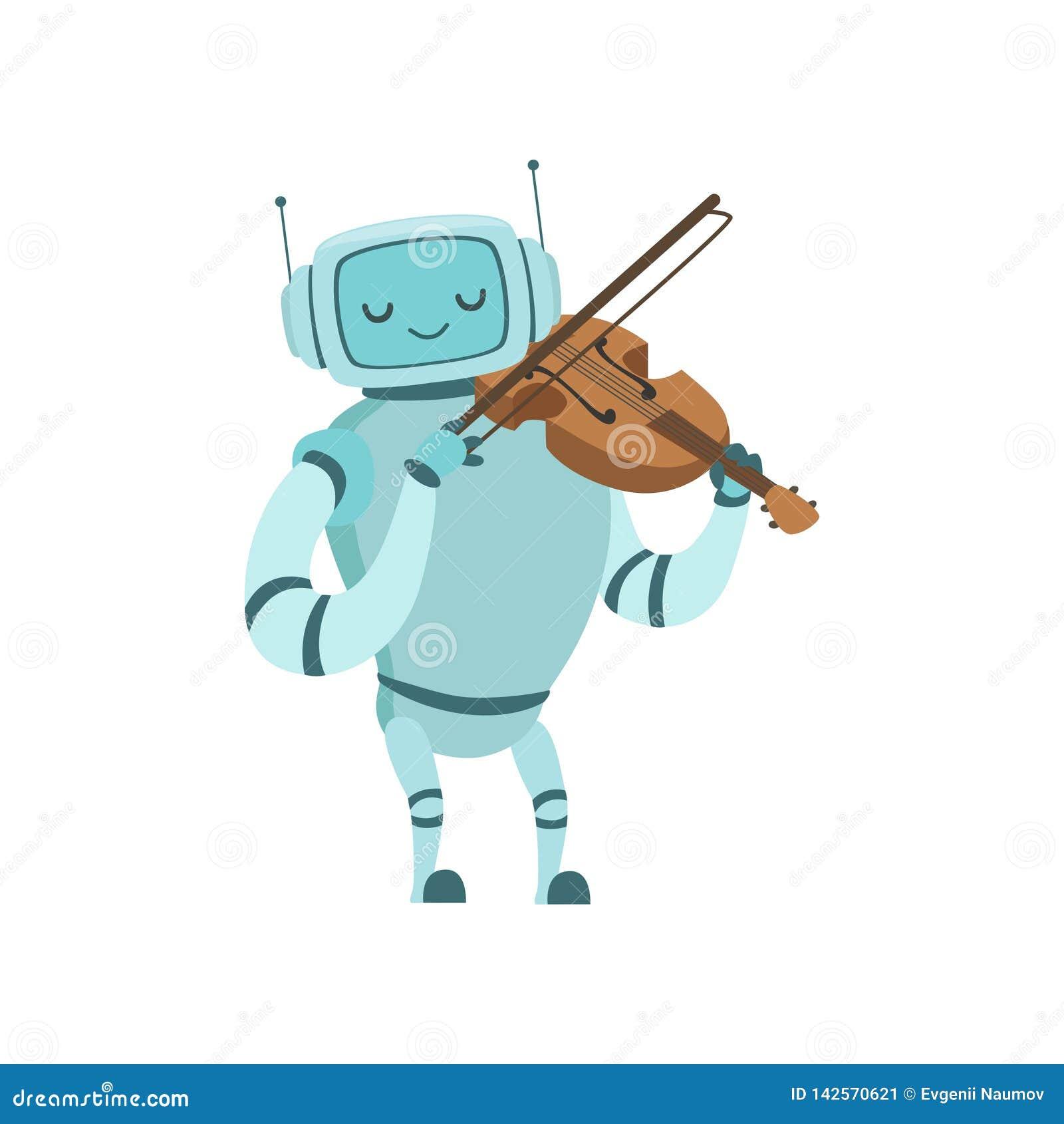 Nette Roboter-Musiker-Playing Violin Musical-Instrument-Vektor-Illustration