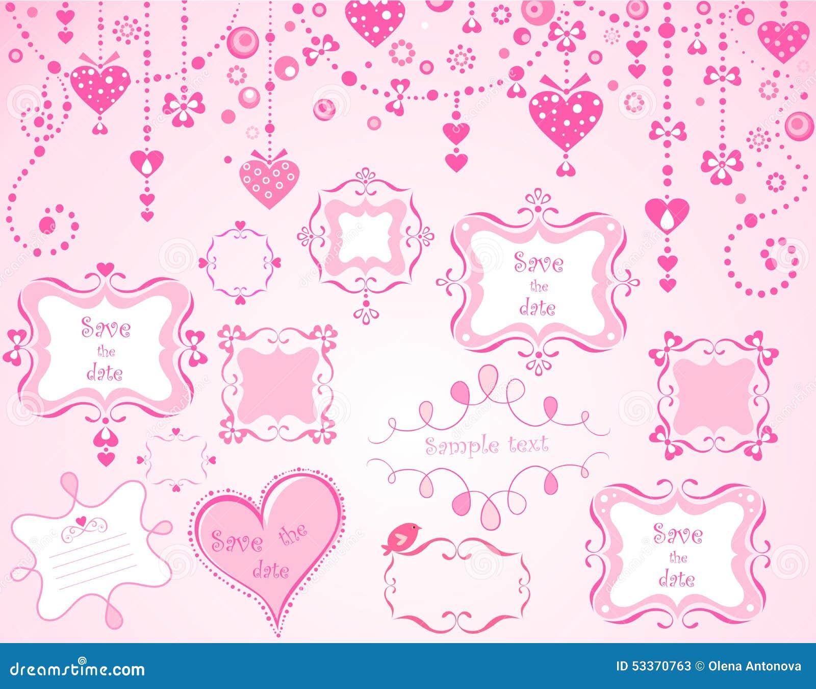 Nette rosa Rahmen vektor abbildung. Illustration von felder - 53370763