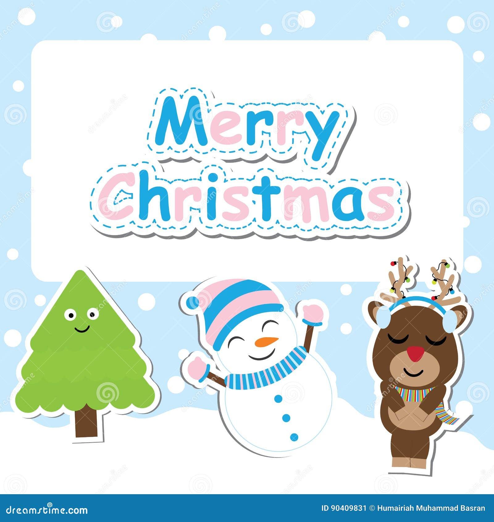 Nette Rotwild, Schneemann Und Weihnachtsbaum Vector Karikatur Für ...