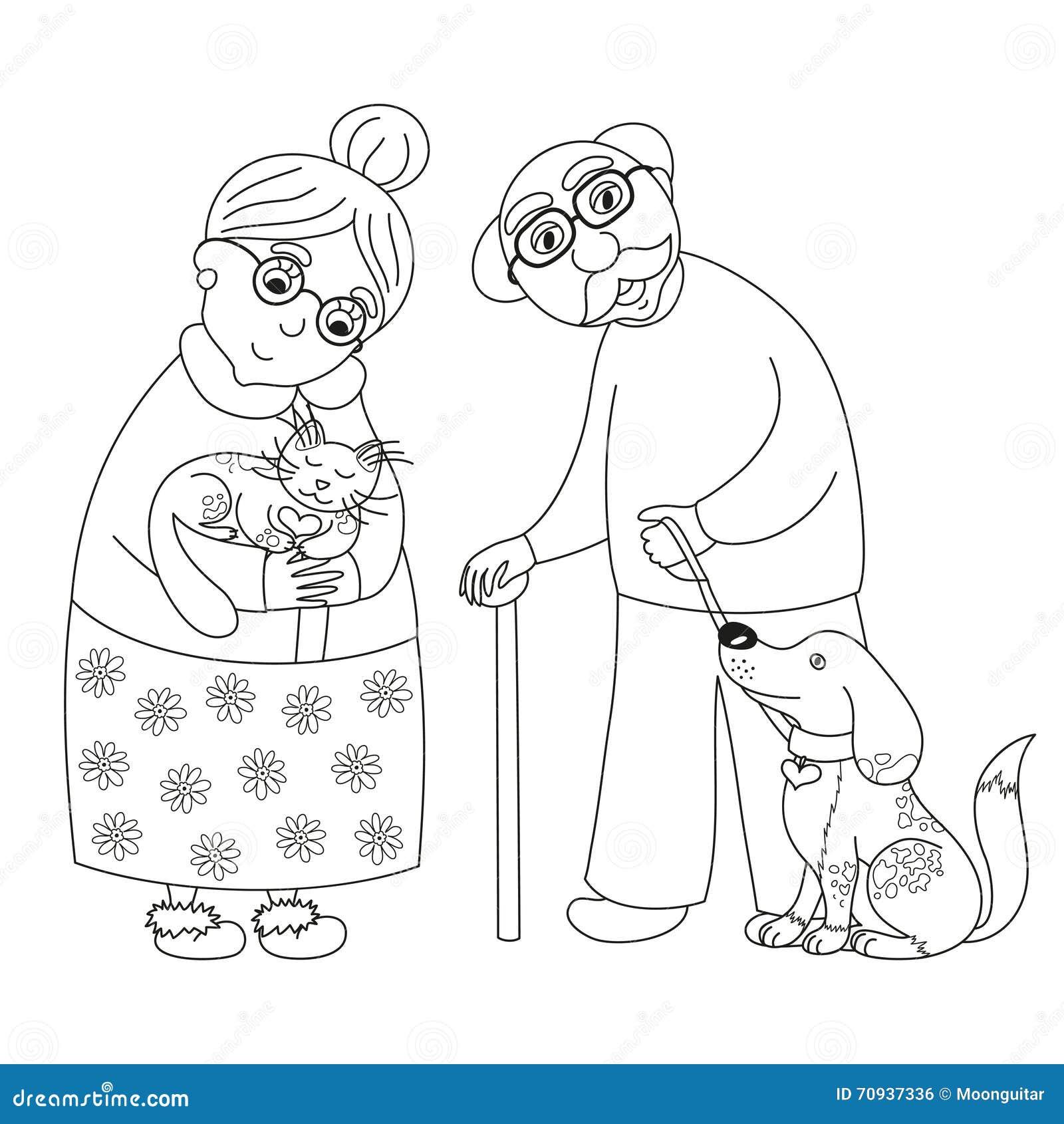 Nette Süße Großmutter Und Großvater, Malbuchseite Für Kinder Vektor ...