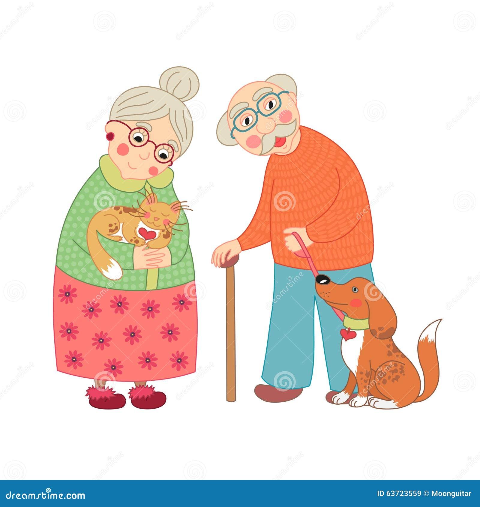 Nette Süße Großmutter Und Großvater, Oma Vektor Abbildung ...