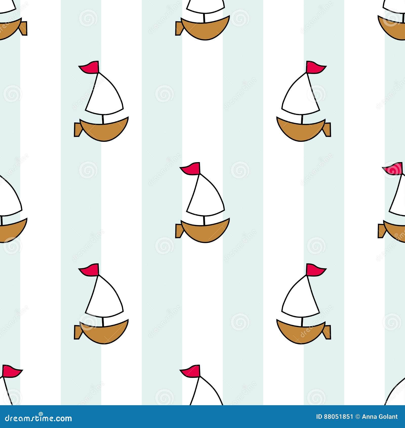 Nette Seesegelboote Auf Einem Hintergrund Von Streifen Und Von
