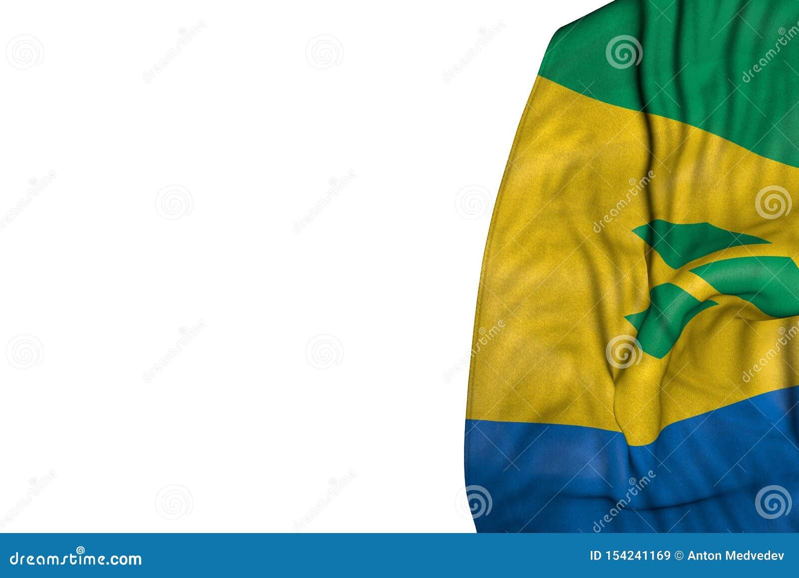 Nette St. Vincent und die Grenadinen Flagge mit den großen Falten, die flach in der linken Seite lokalisiert auf weiß- irgendeine