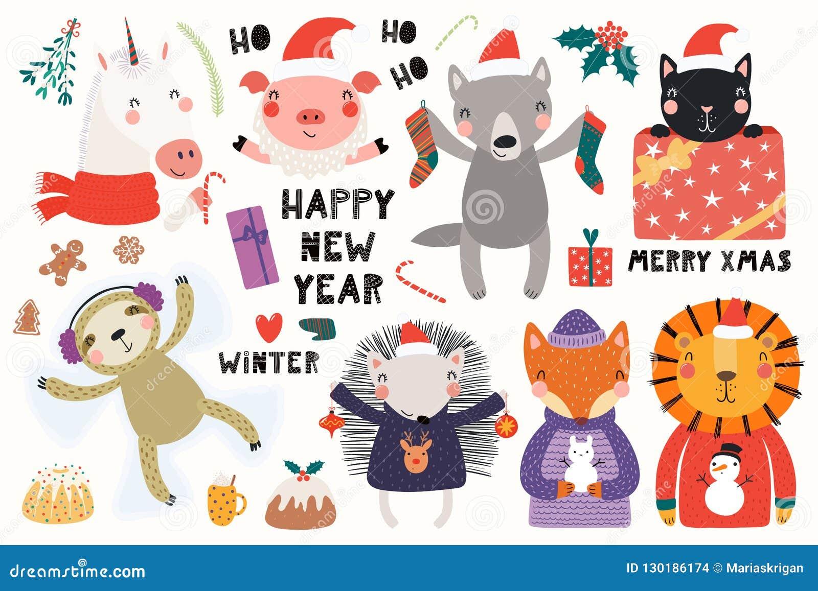 Weihnachtskarten Tiere.Nette Tiere Weihnachtskarte Vektor Abbildung Illustration Von