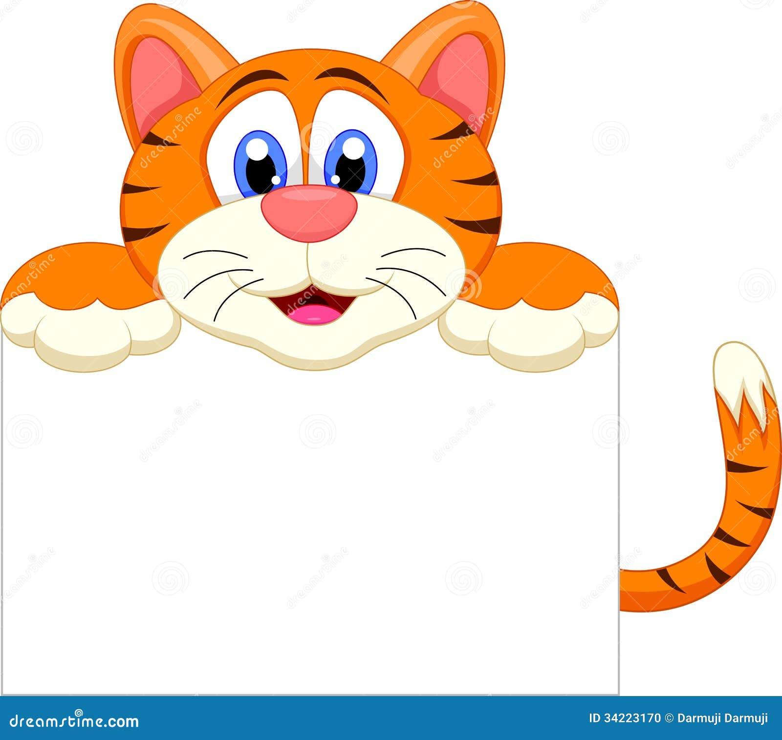 Nette Tigerkarikatur mit leerem Zeichen