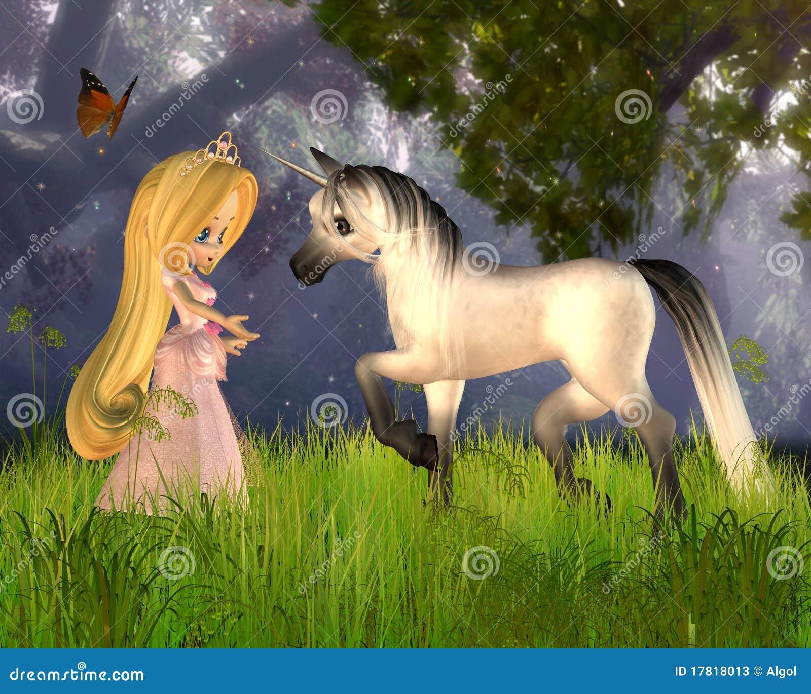 Nette Toon-Märchen-Prinzessin und Einhorn