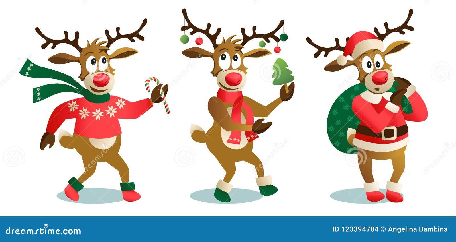 Nette und lustige Weihnachtsrene, Karikaturvektorillustration lokalisiert auf weißem Hintergrund, Ren mit Weihnachten