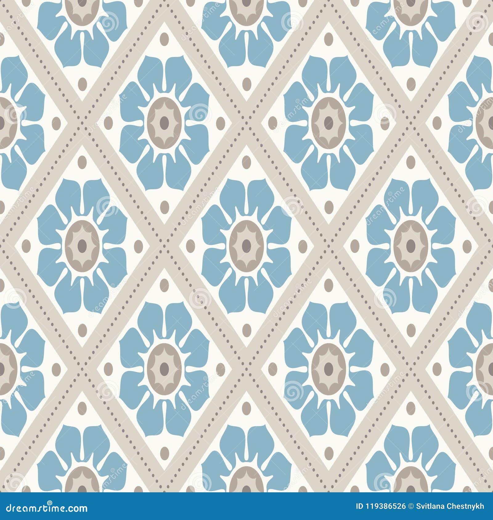 ... Nette Retro  Farben   Graue Beige, Ruhiges Blau Nahtloses Vektormuster  Vervollkommnen Sie Für Gewebedesign, Packpapier, Tapeten, Netzhintergründe  Usw.