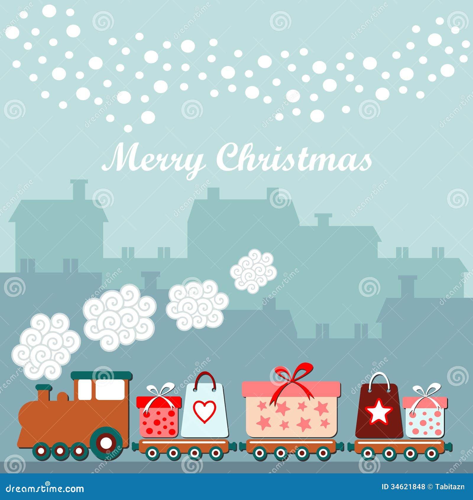 Nette Weihnachtskarte mit Zug, Geschenke, Winterhäuser, fallende Schneeflocken, Illustrationshintergrund