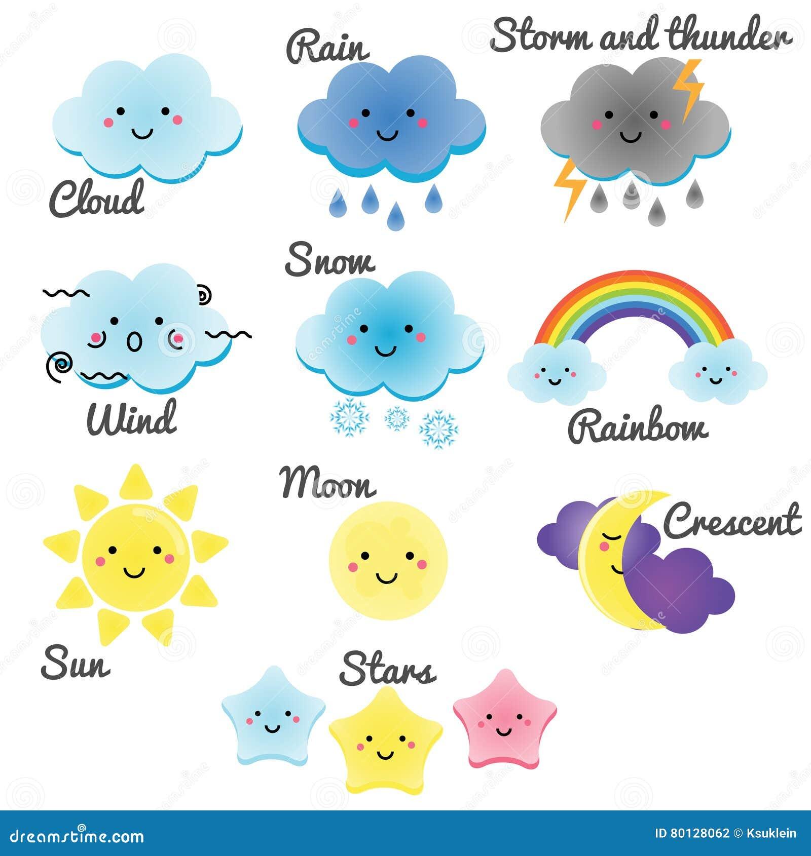 Nette Wetter- Und Himmelelemente Mond, Sonne, Regen Und Wolken ...