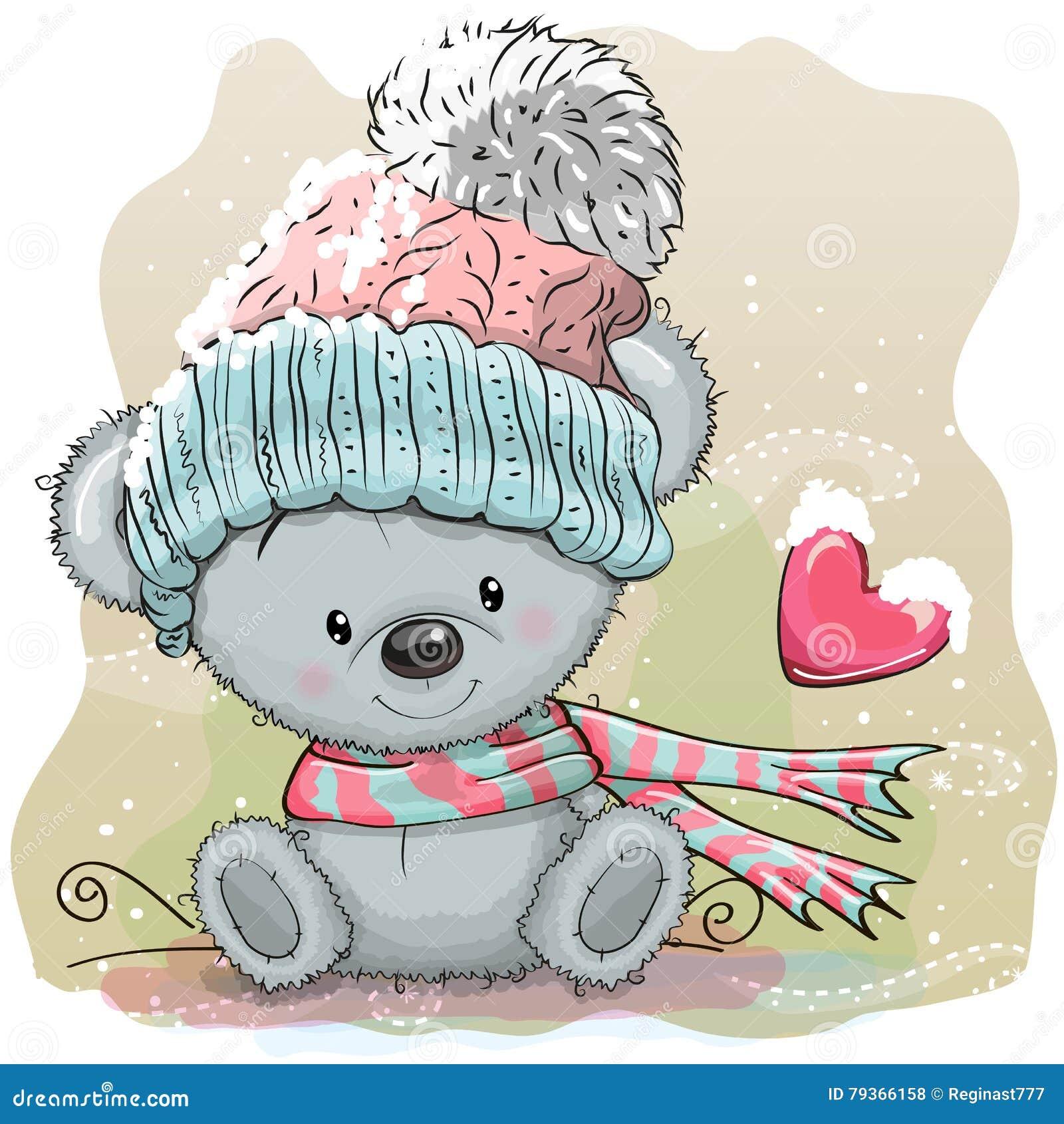 Netter Bär in einer Strickmütze