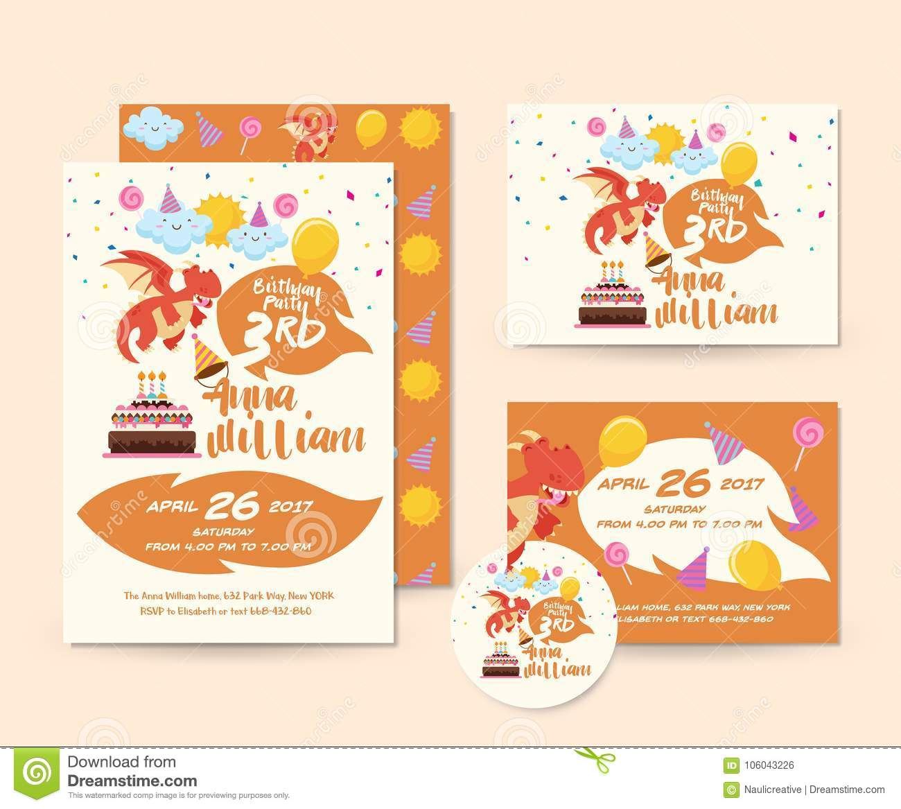 Netter Dragon Theme Happy Birthday Invitations Karten Satz Und Flieger Illustrations Schablone
