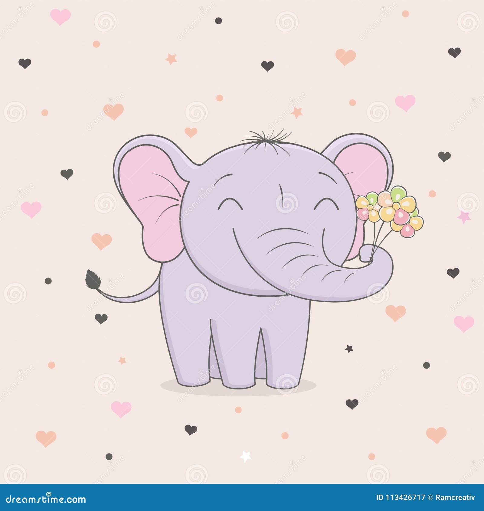 Netter Elefant Mit Blumen Auf Hintergrund Von Herzen Kind-` S ...