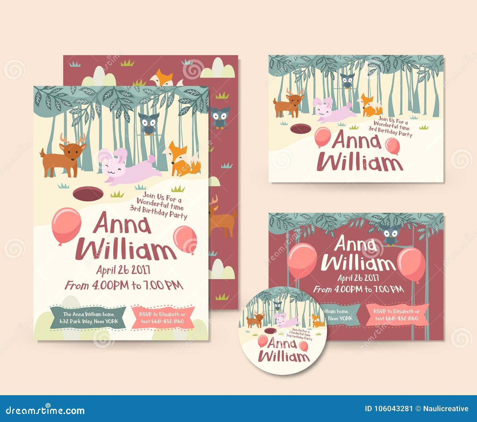 Netter Forest Animal Theme Happy Birthday-Einladungs-Karten-Satz Und ...