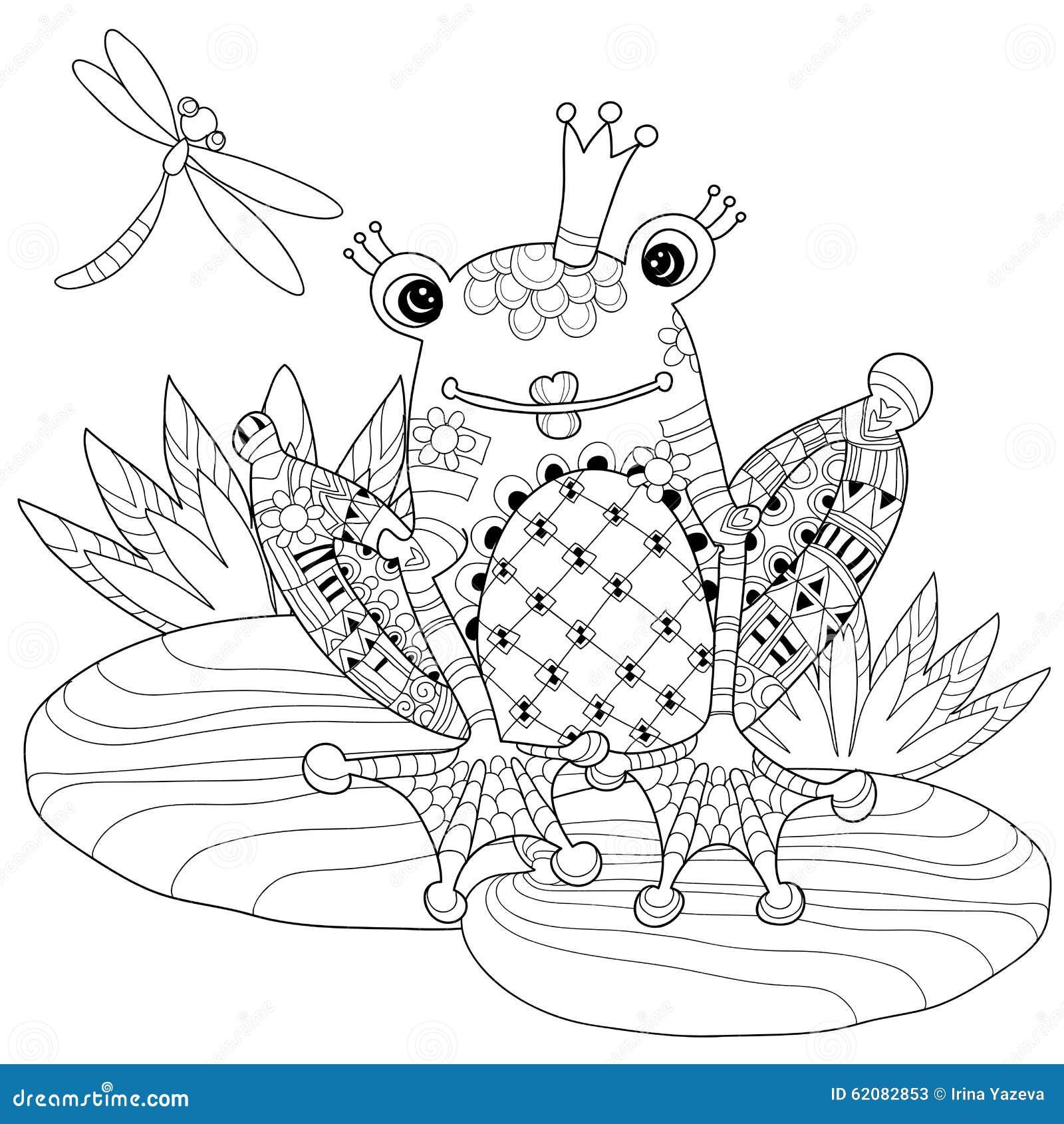 netter froschprinz in der krone mit lotos vektor