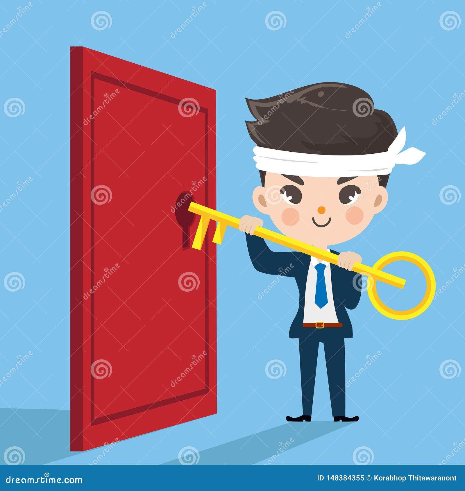 Netter Geschäftsmannschlüssel offen die Tür