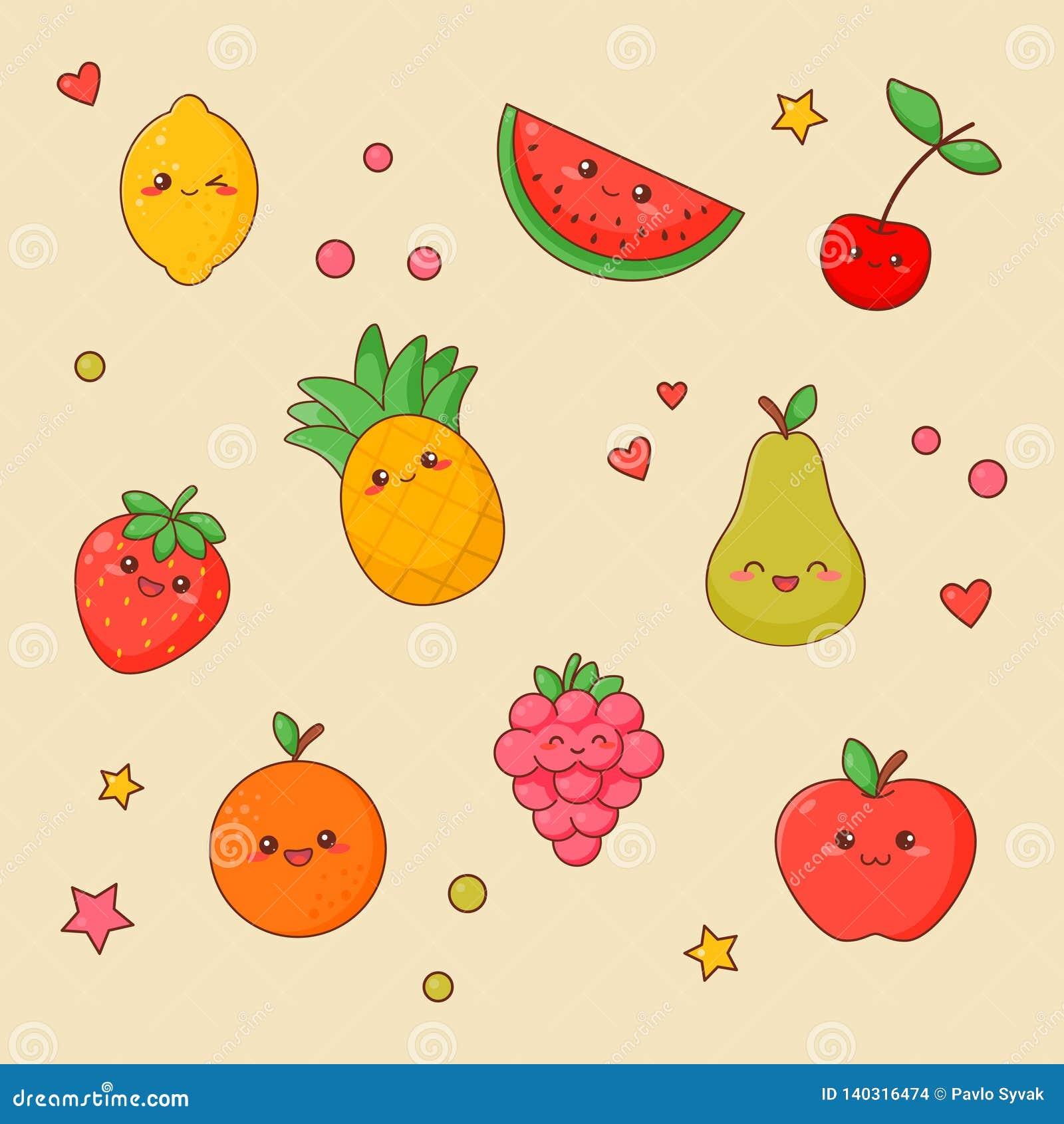 Netter Gesichts-Satz Frucht-Nahrung-Kawaii Orange und Apfel