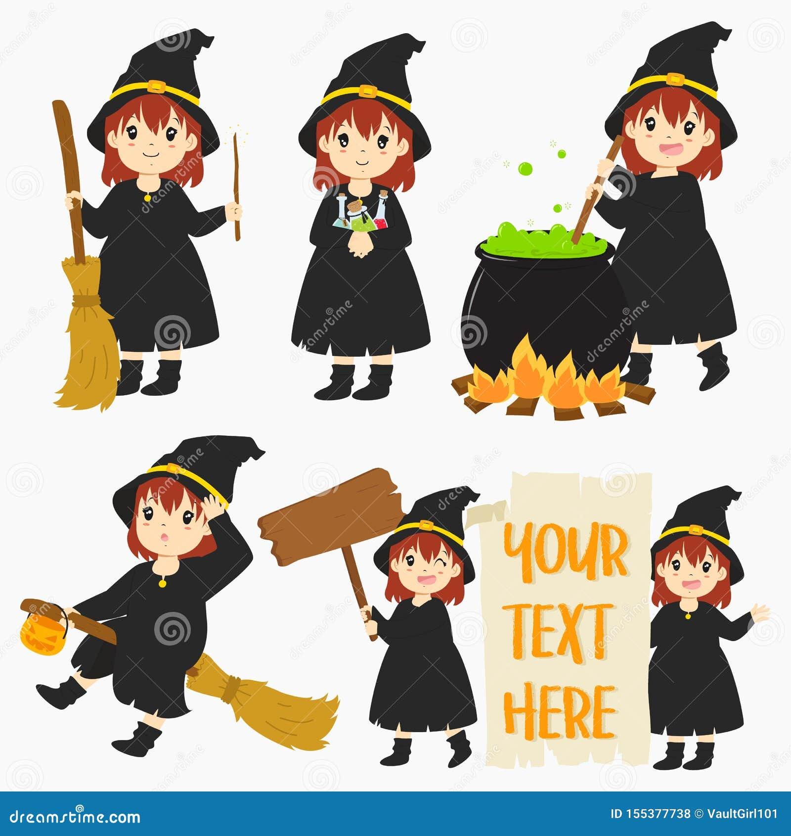 Netter Halloween-Hexen-Vektor-Satz