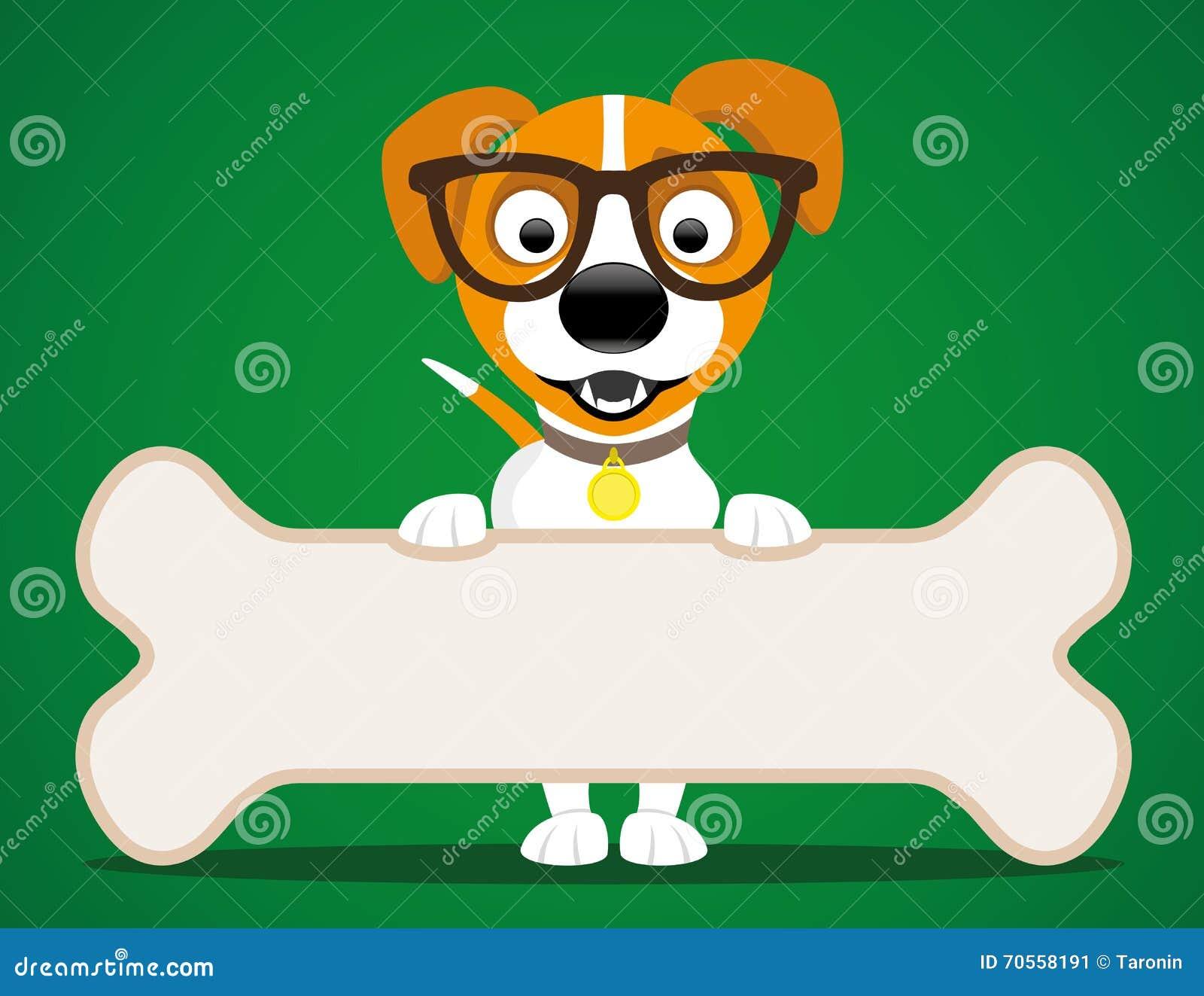 netter hund mit einem knochen vektor abbildung