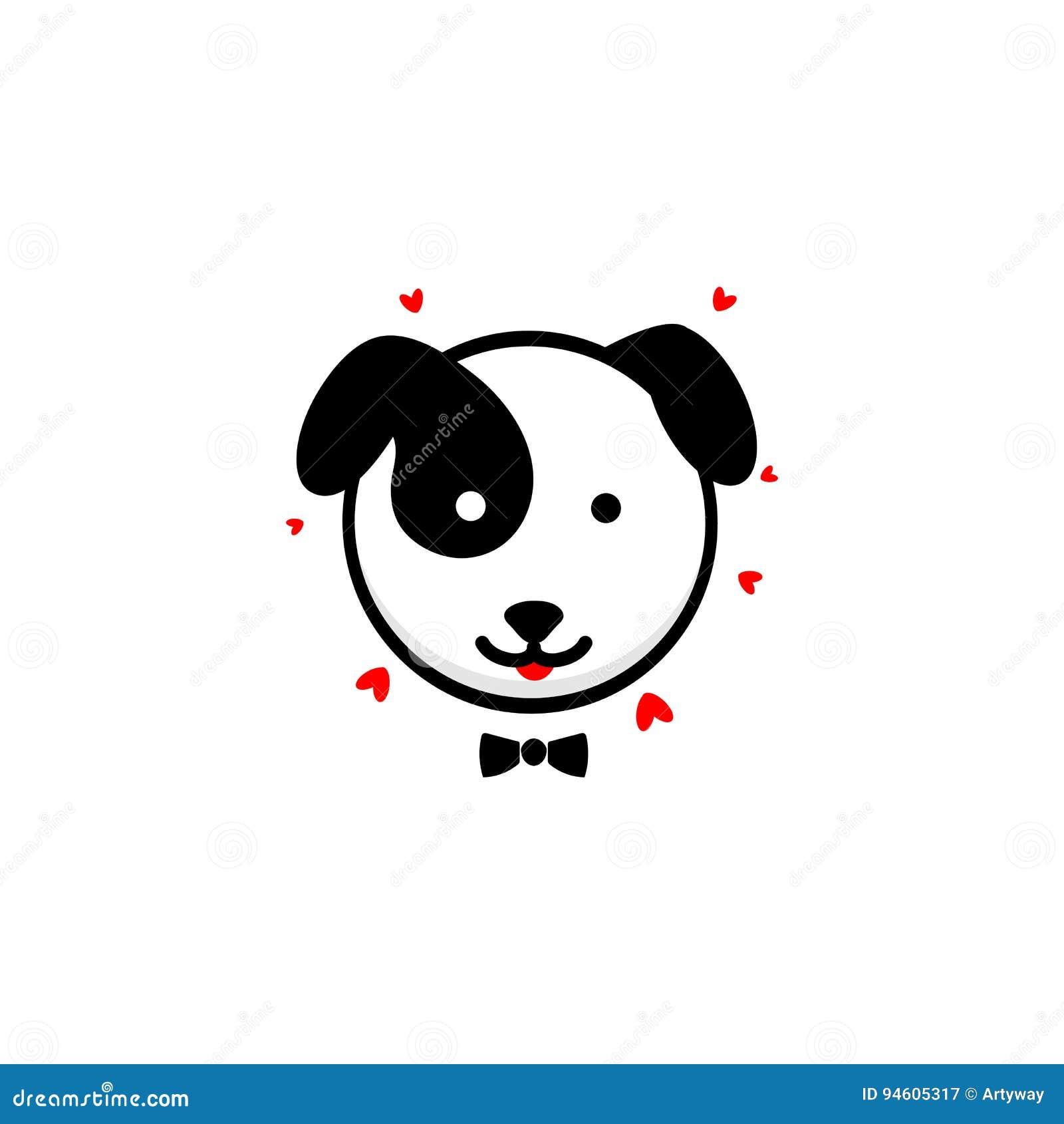 Netter Hundeherr bekennt seine Liebesvektorillustration, Baby-Welpenlogo, neue Designkunst, streicheln das schwarze Farbzeichen,