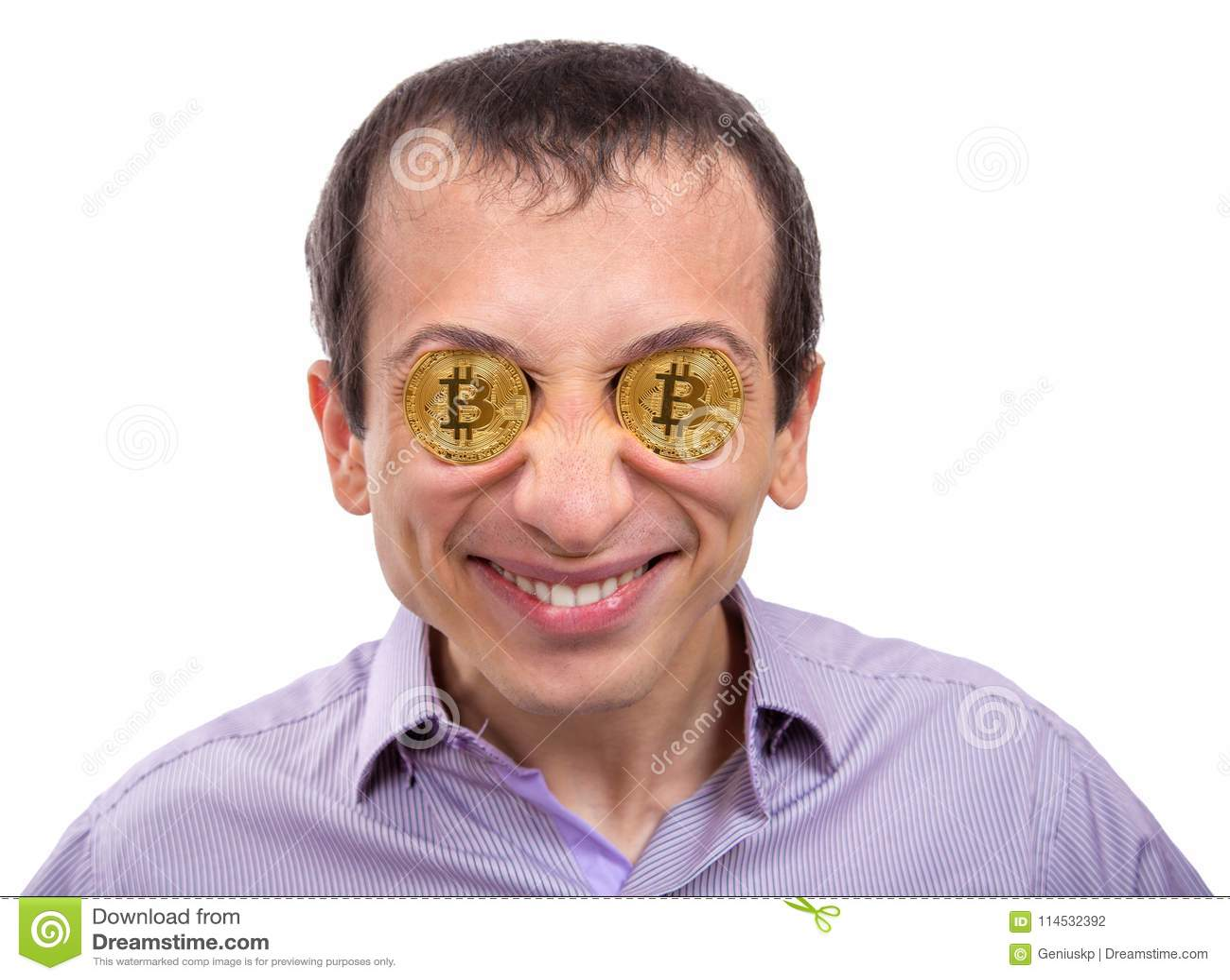 Netter Junger Mann Mit Gold-bitcoin In Den Augen Stockfoto