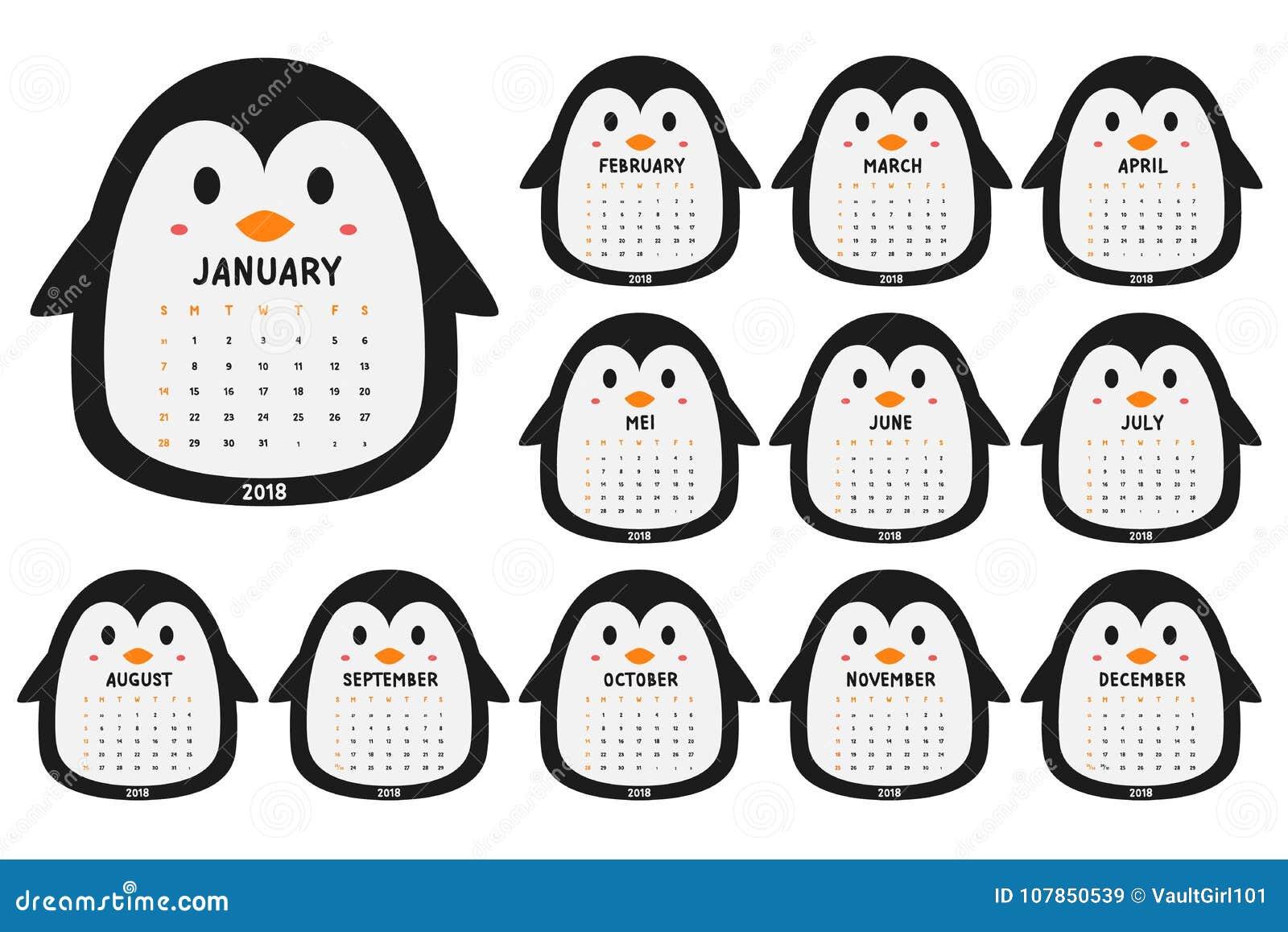 Netter Kalender-Schablonen-Karikatur-Vektor Des Pinguin-2018 Vektor ...