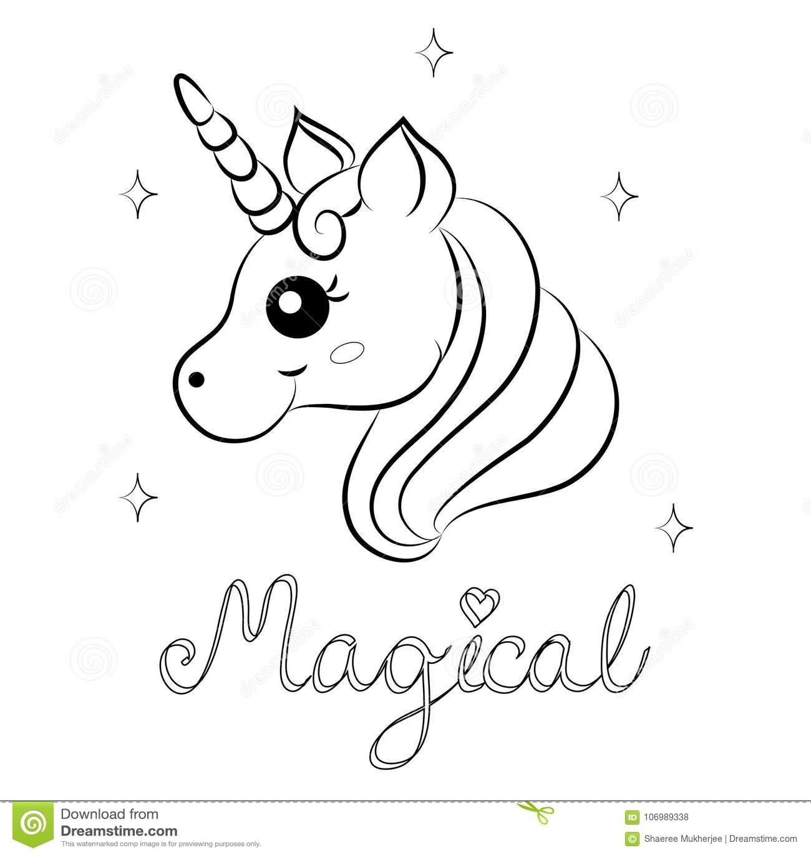 Netter Karikatur Vektor Unicorn Coloring Page Vektor Abbildung