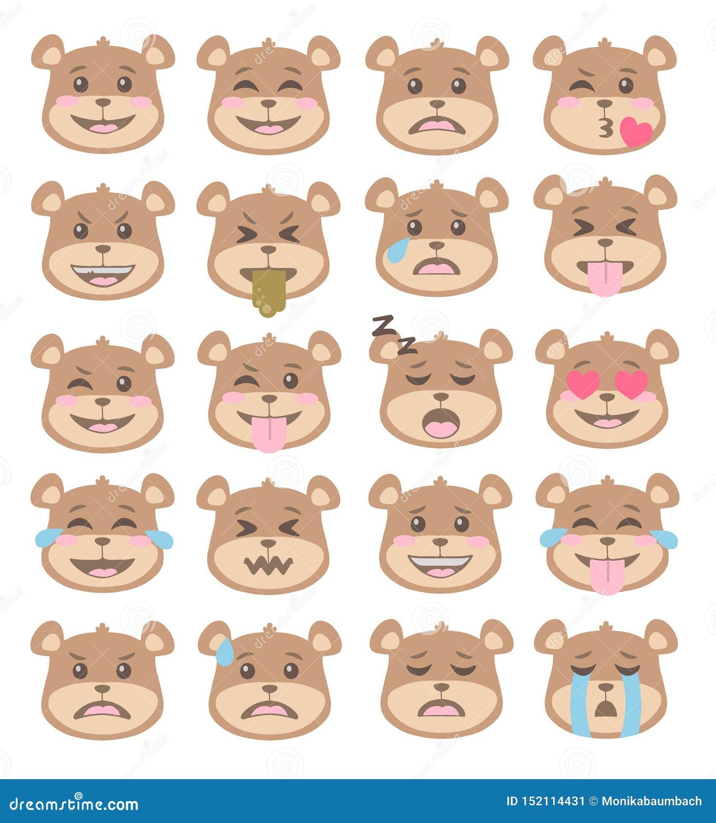 Netter Karikaturartbraunbär stellt mit verschiedenen Gesichtsausdrücken, Emoticonvektorsatz gegenüber