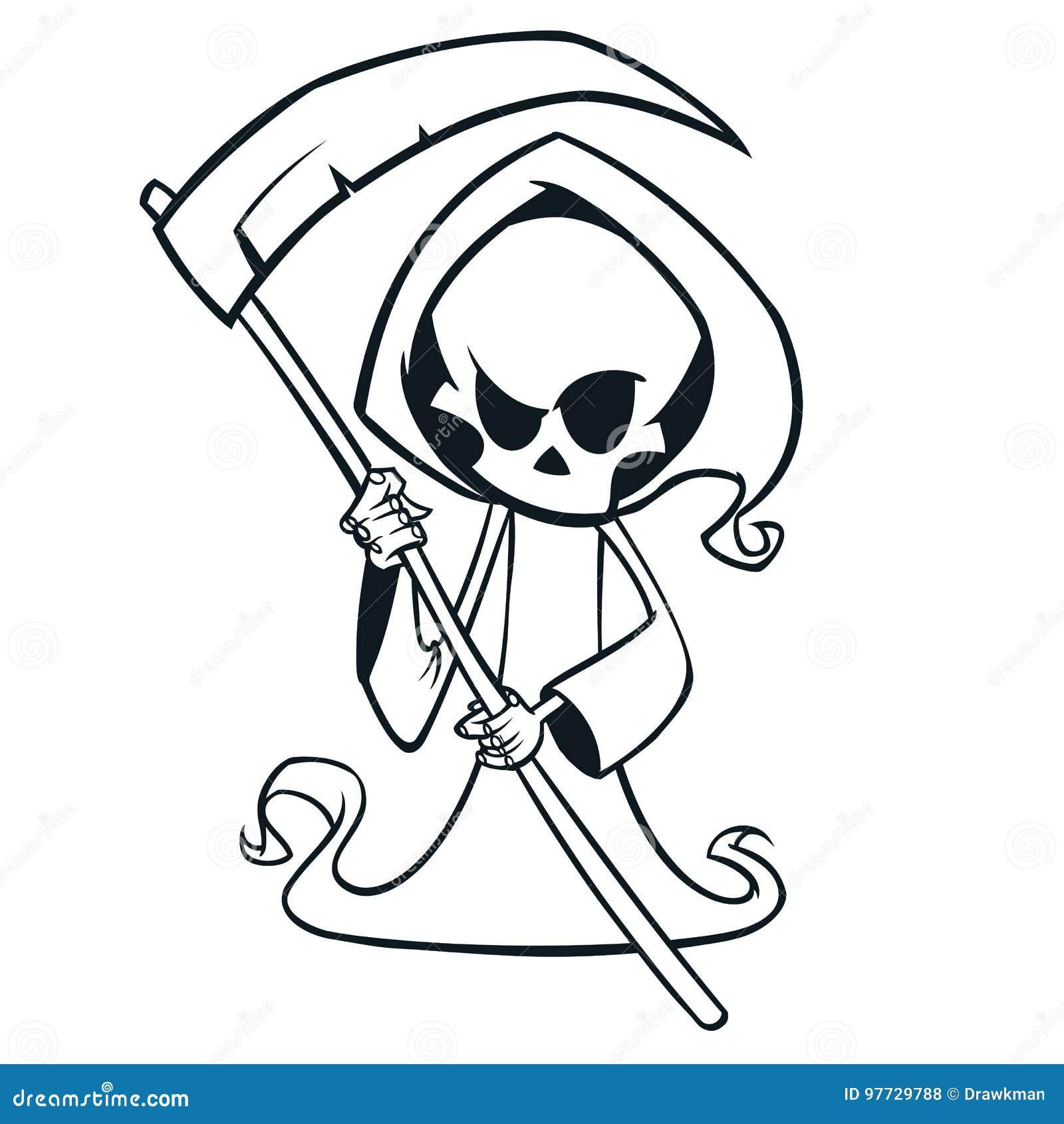 Netter Karikatursensenmann mit der Sense lokalisiert auf Weiß Nette Todeszeichenkonturen Halloweens skeleton