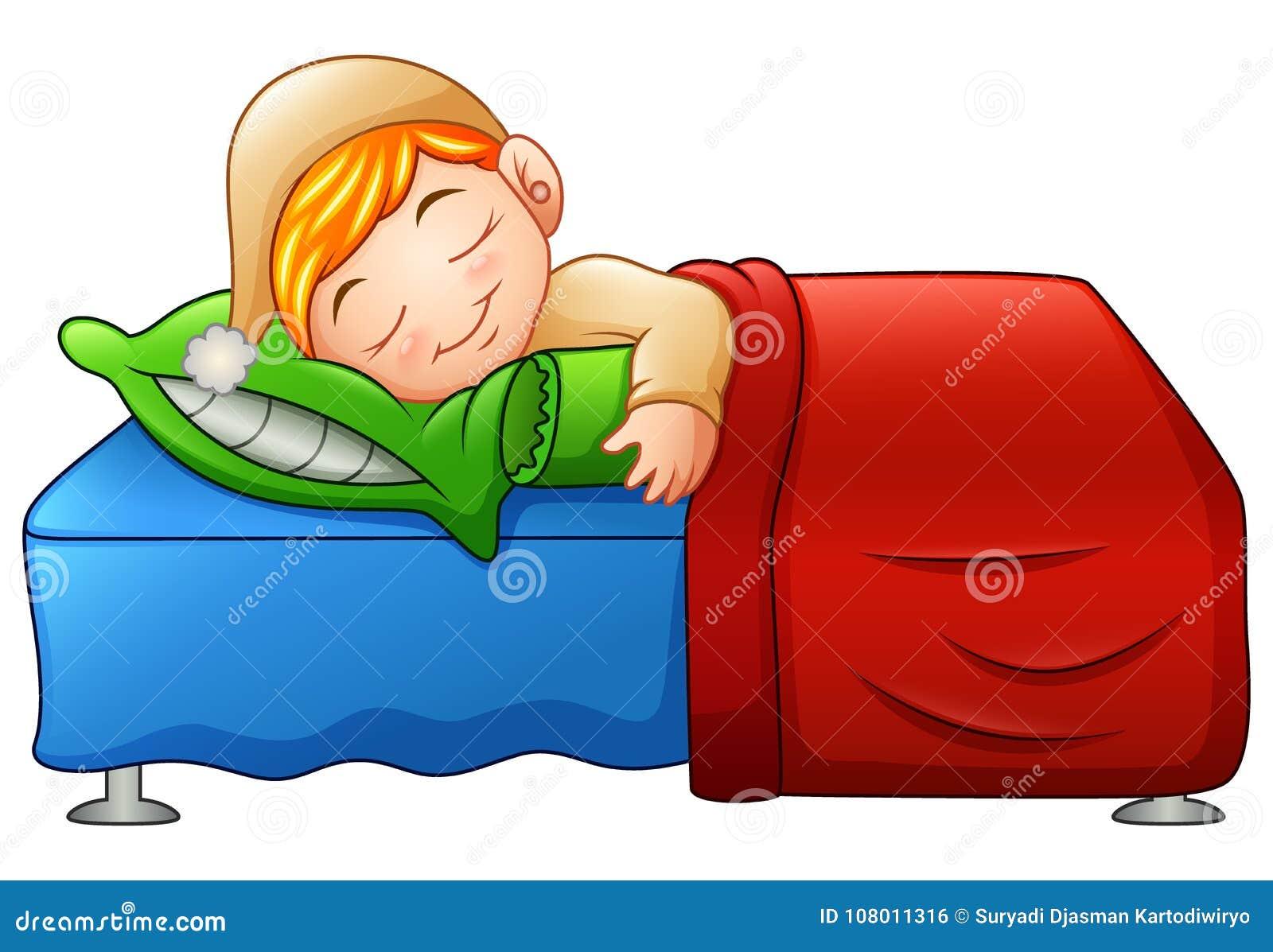 Netter Kleiner Junge Der Karikatur Der Im Bett Schlaft Vektor