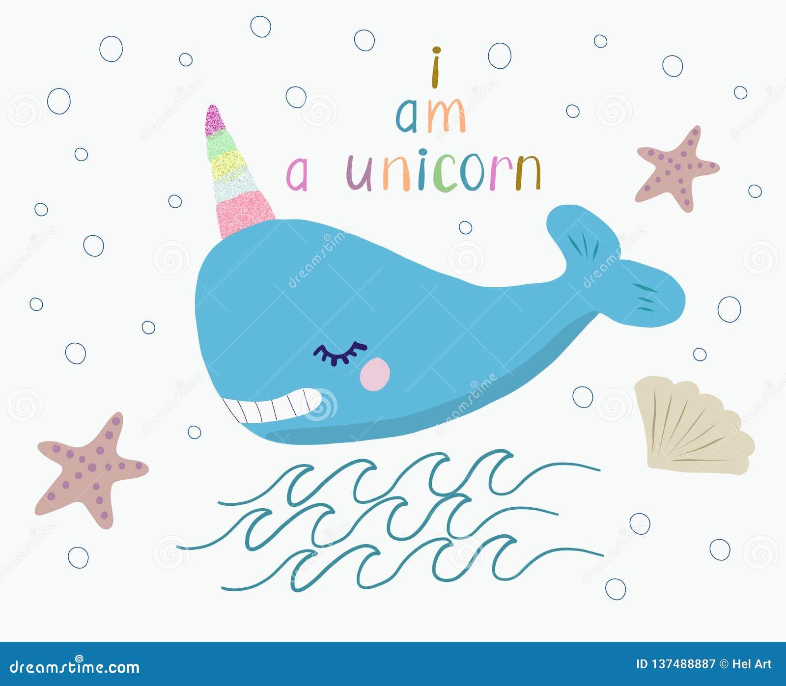 Netter lächelnder Wal mit einem Einhornhorn und einer handgeschriebenen Beschriftung