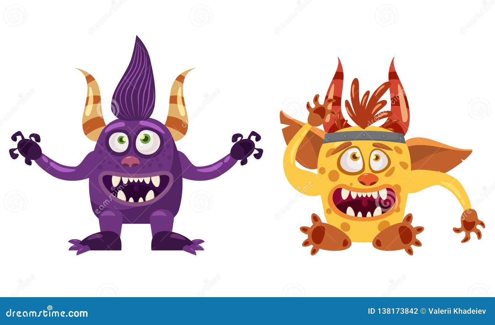 Netter lustiger Märchencharakter der Schleppangel Bigfoot und des Kobolds, Gefühle, Karikaturart, für Bücher, Werbung, Aufkleber,