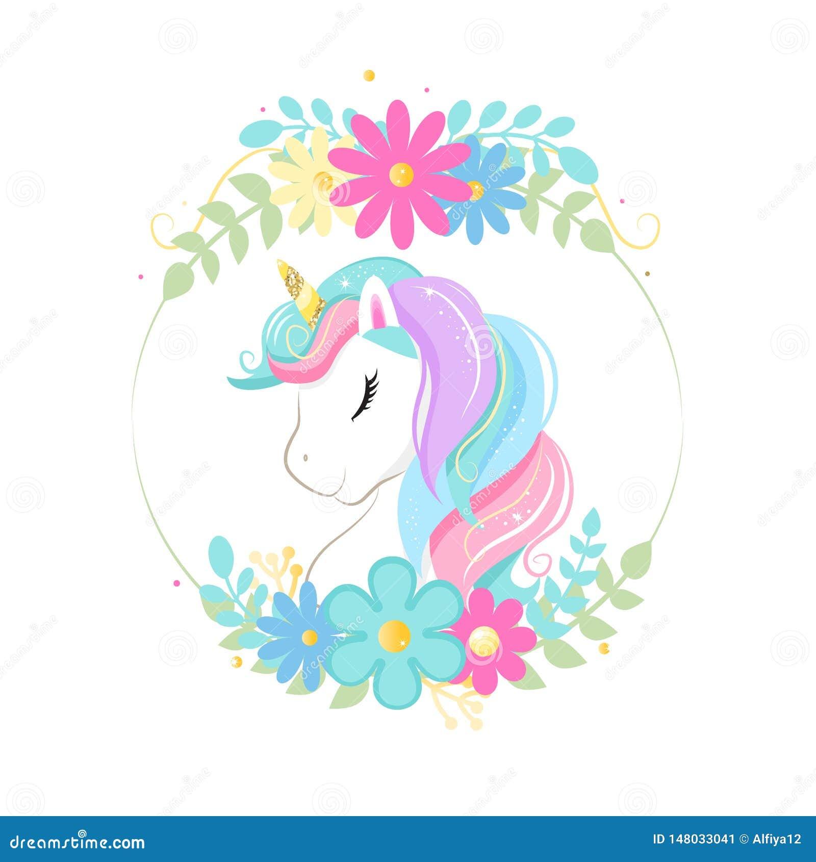 Netter magischer Karikatureinhornkopf mit Rahmen von Blumen Abbildung f?r Kinder