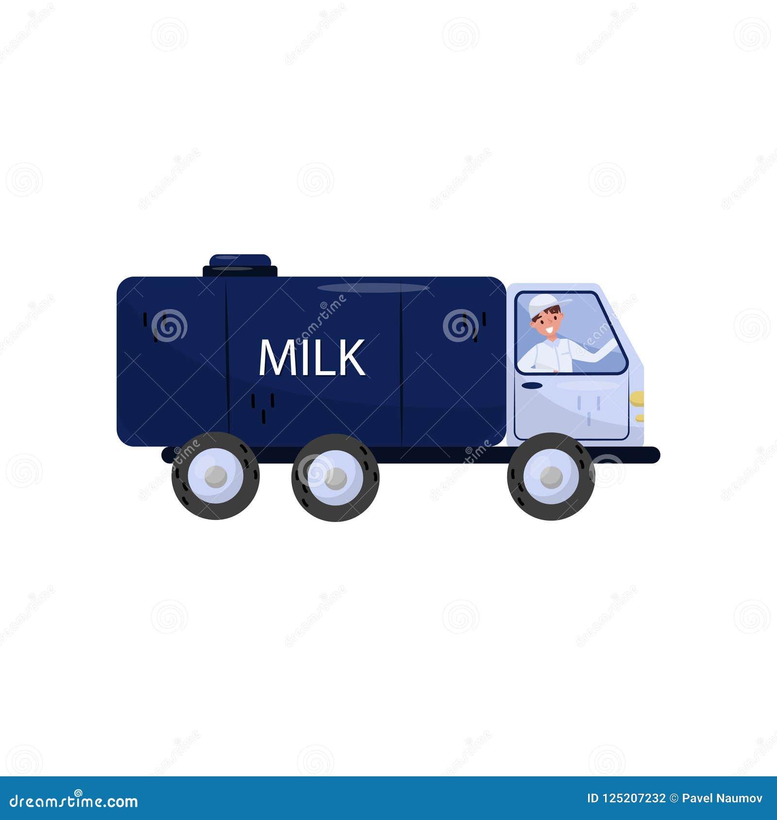 Netter Mann, der LKW mit Milchbehälter fährt Fahrzeug mit großer blauer Zisterne Lokalisiertes flaches Vektordesign