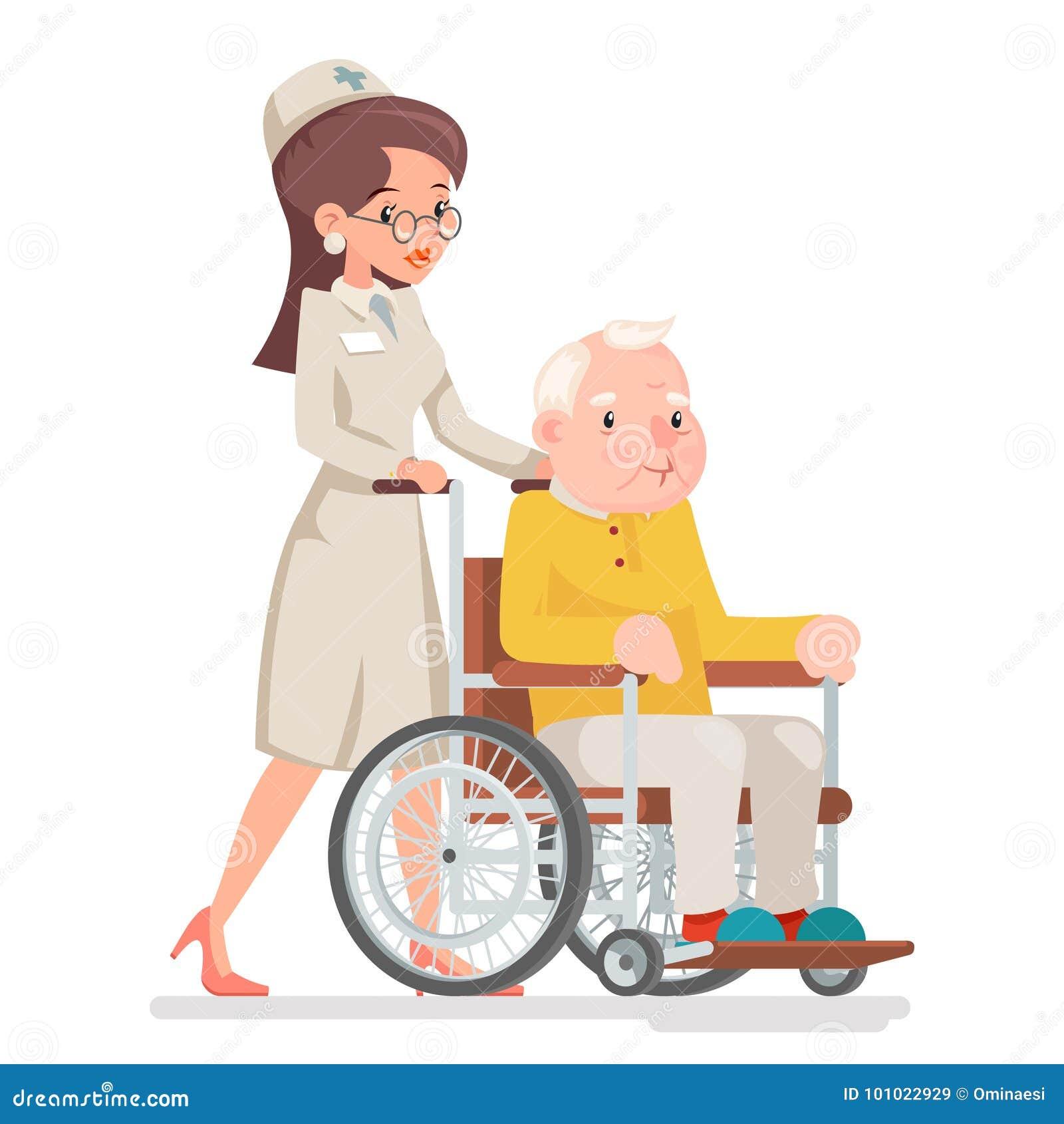 Netter mitfühlender Rollstuhl-alter Mann-Charakter-Sit Adult Icon Cartoon Design-Vektor Doktor-Attendant Nurse Elderly