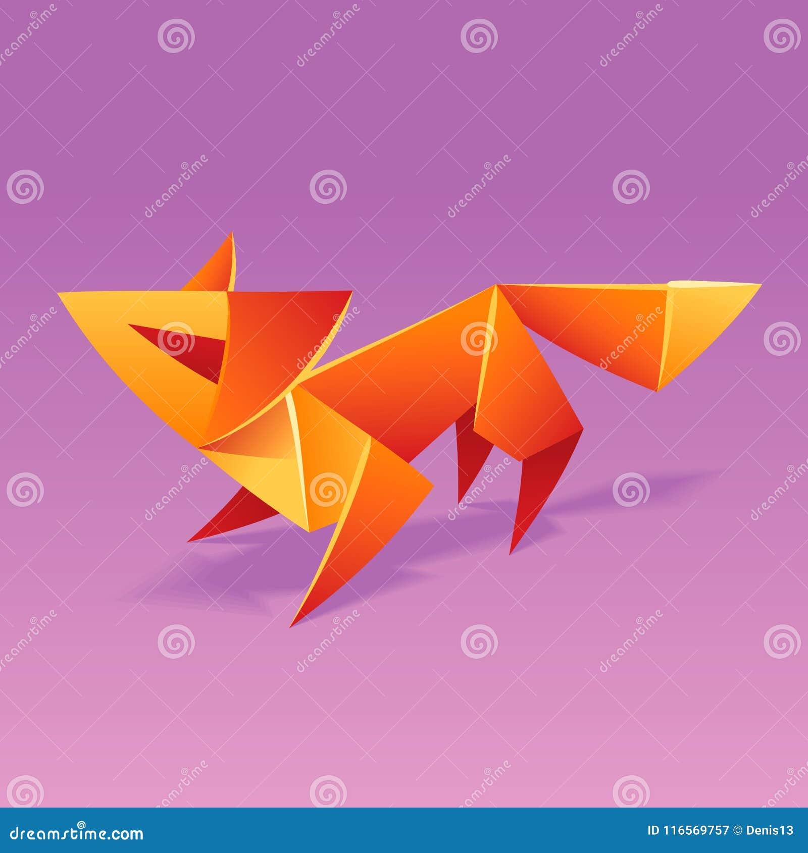 Origami Fox Royalty Free Vector Image - VectorStock | 1390x1300