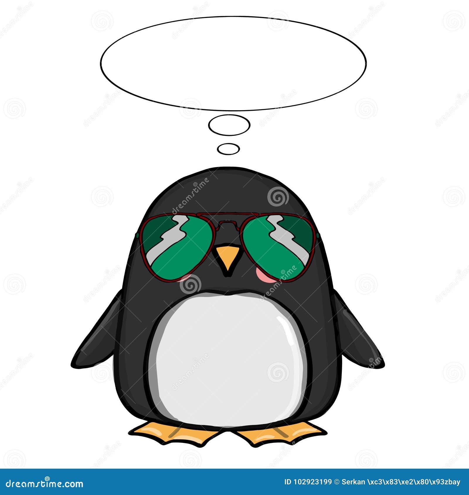 Netter Pinguin Und Sonnenbrille Und Denken Vektor Abbildung ...