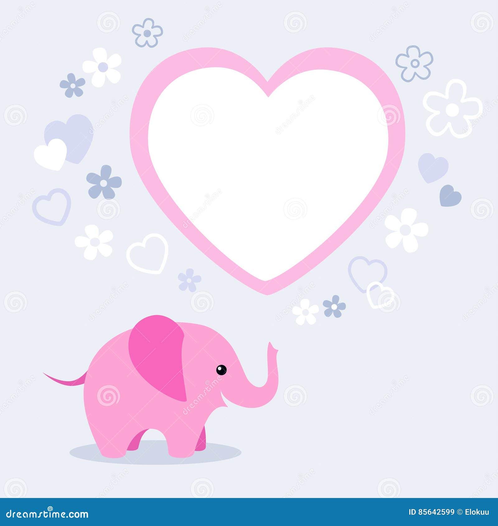 Netter Rosa Elefant Mit Blumen, Herzen Und Textbox Vektor Abbildung ...