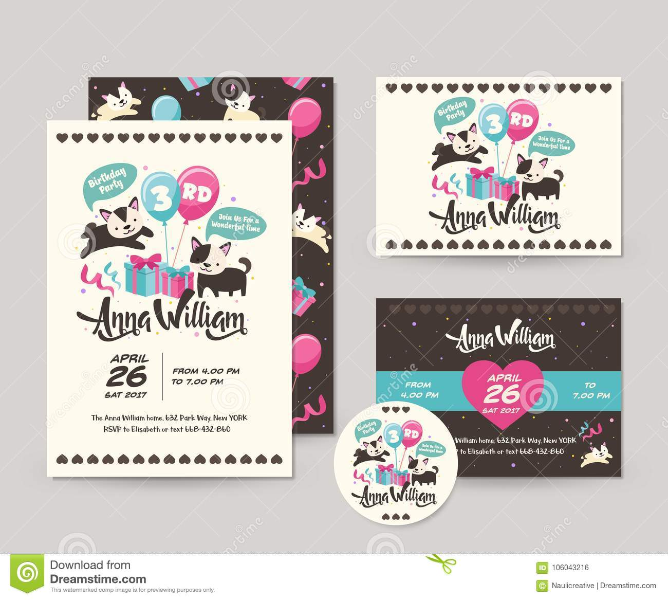 Netter Seltener Schwarzer Cat Theme Happy Birthday Invitations Karten Satz Und Flieger Illustrations