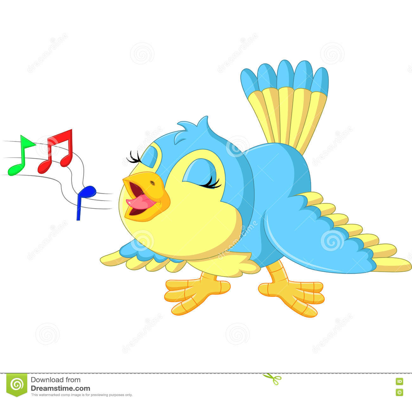 Netter singender vogel vektor abbildung bild